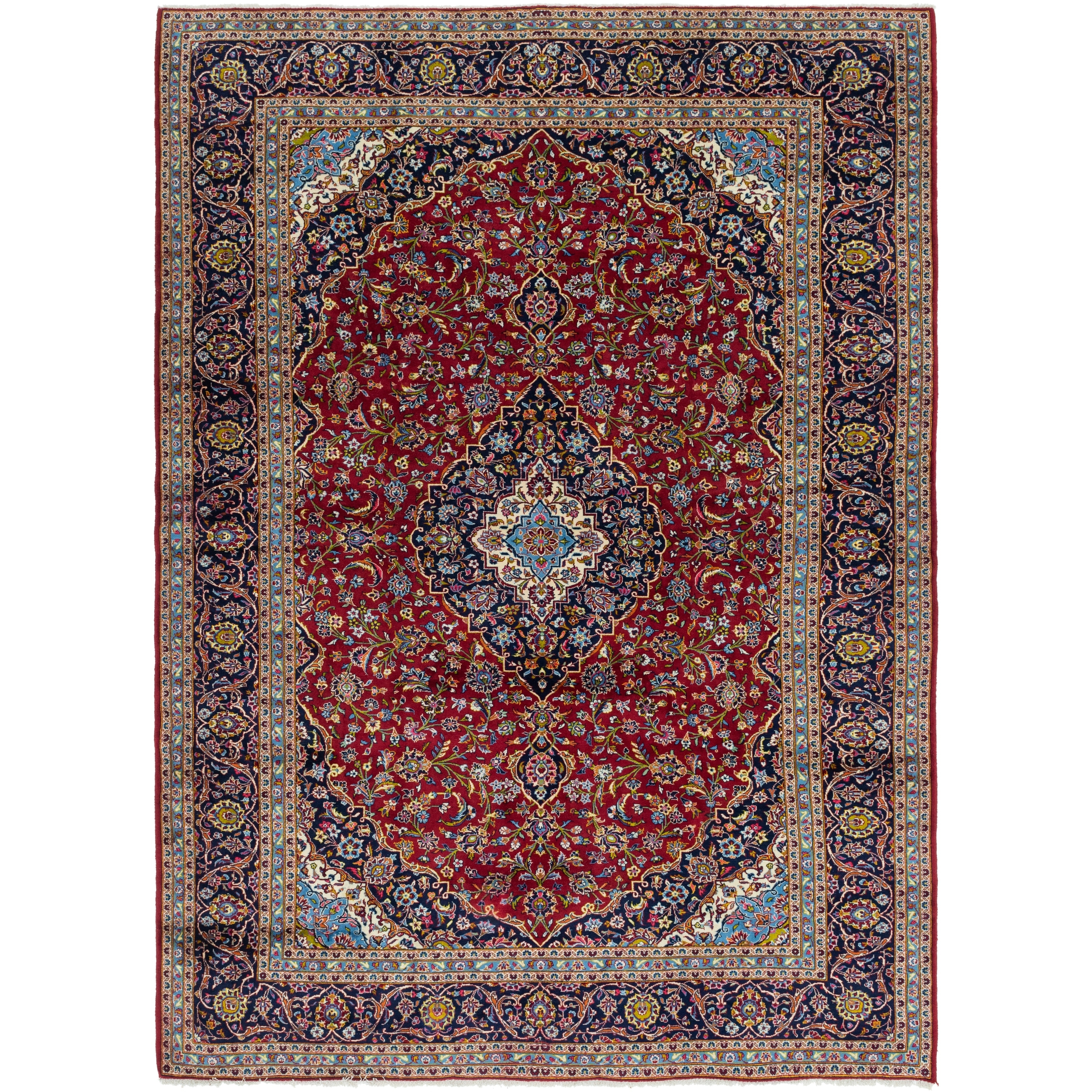 Hand Knotted Kashan Wool Area Rug - 9 10 x 13 10 (Red - 9 10 x 13 10)