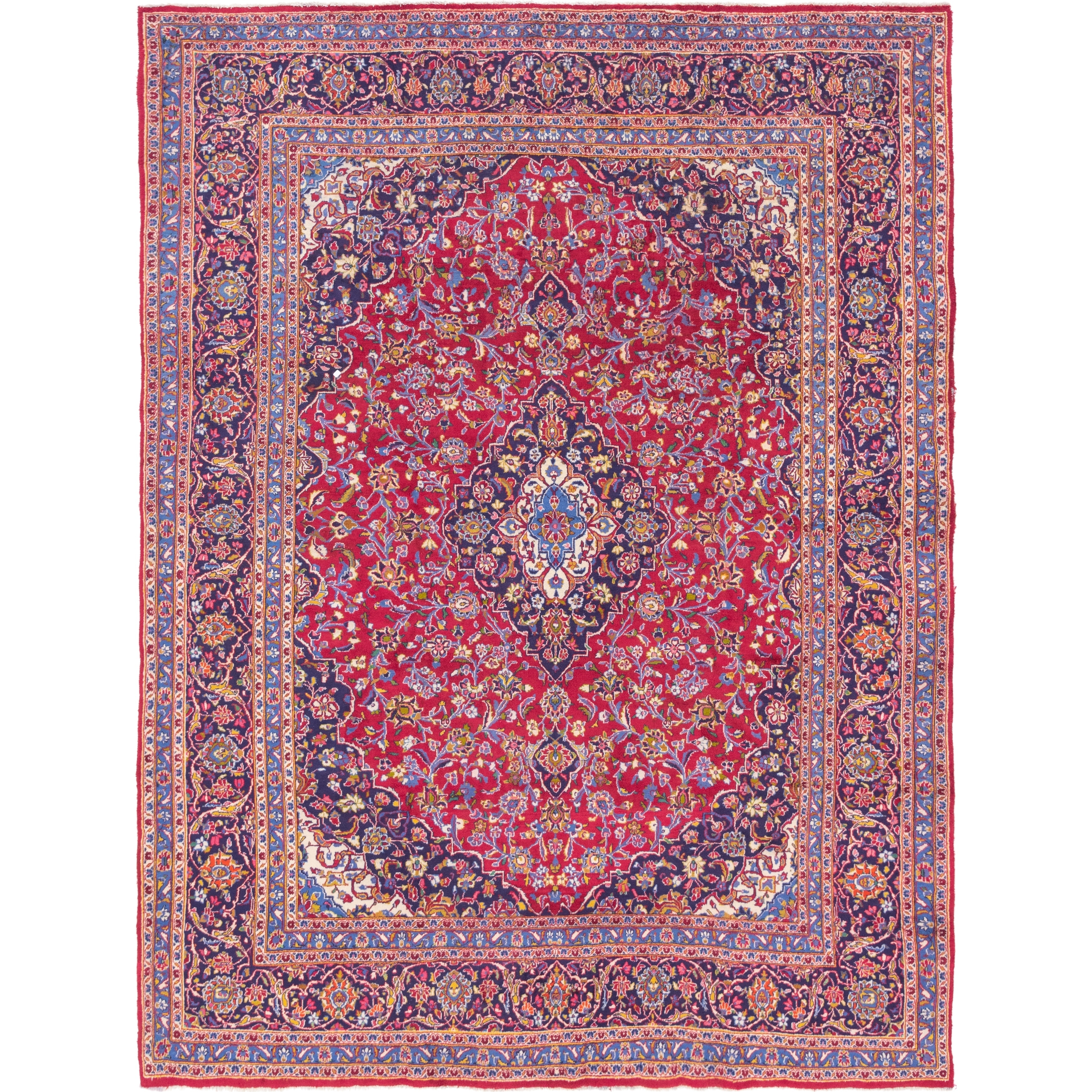 Hand Knotted Kashan Wool Area Rug - 9 6 x 12 6 (Red - 9 6 x 12 6)