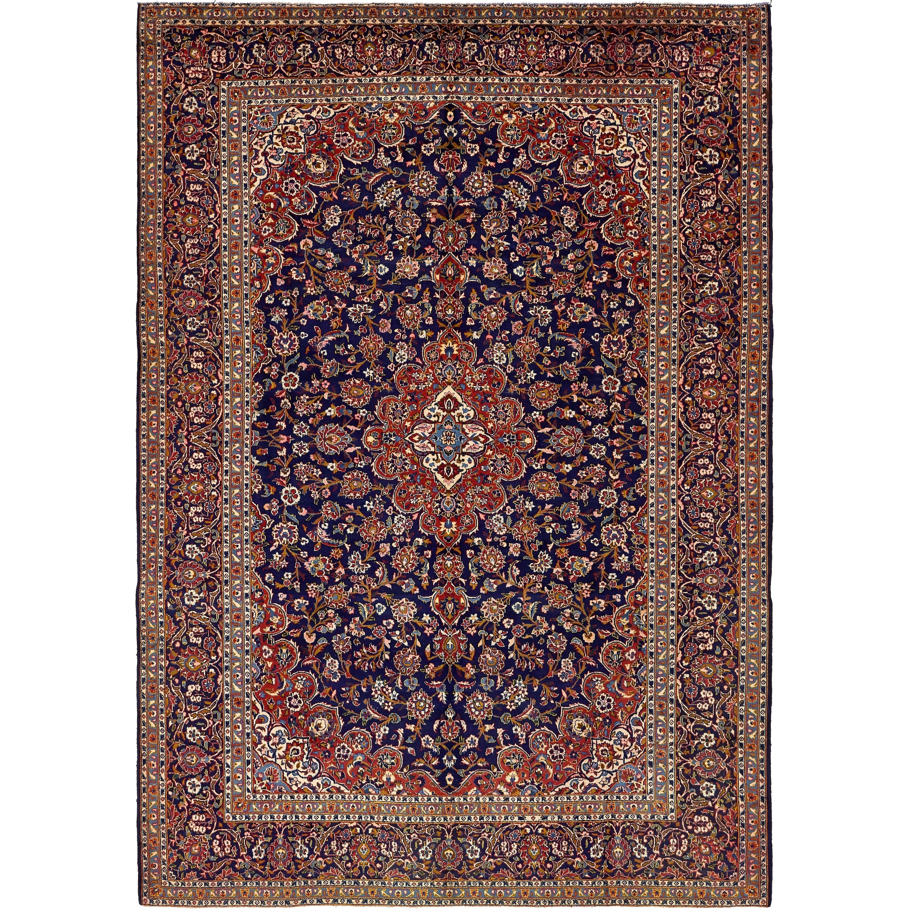 Hand Knotted Kashan Semi Antique Wool Area Rug - 9 7 x 13 9 (Navy blue - 9 7 x 13 9)