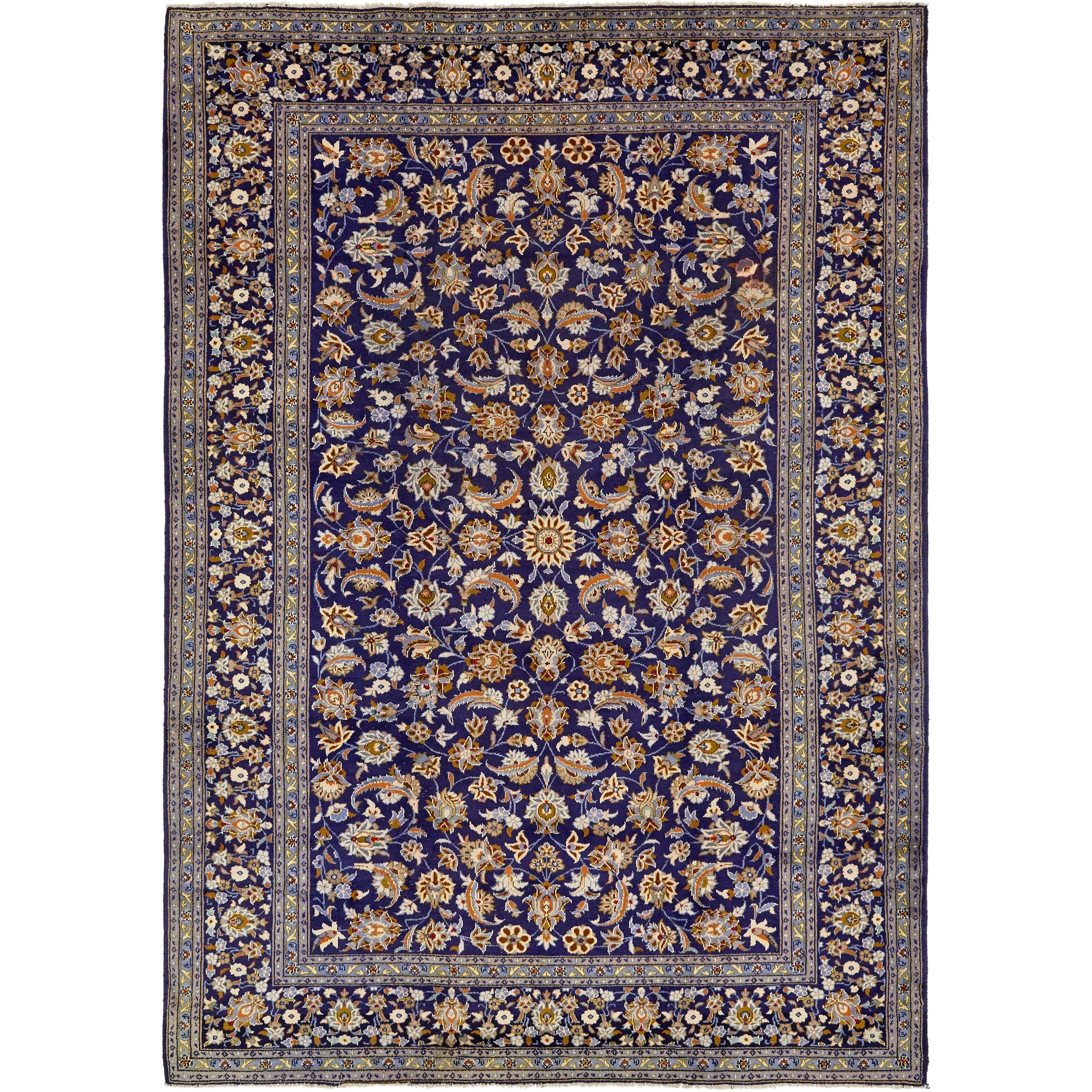 Hand Knotted Kashan Semi Antique Wool Area Rug - 8 8 x 12 5 (Navy blue - 8 8 x 12 5)