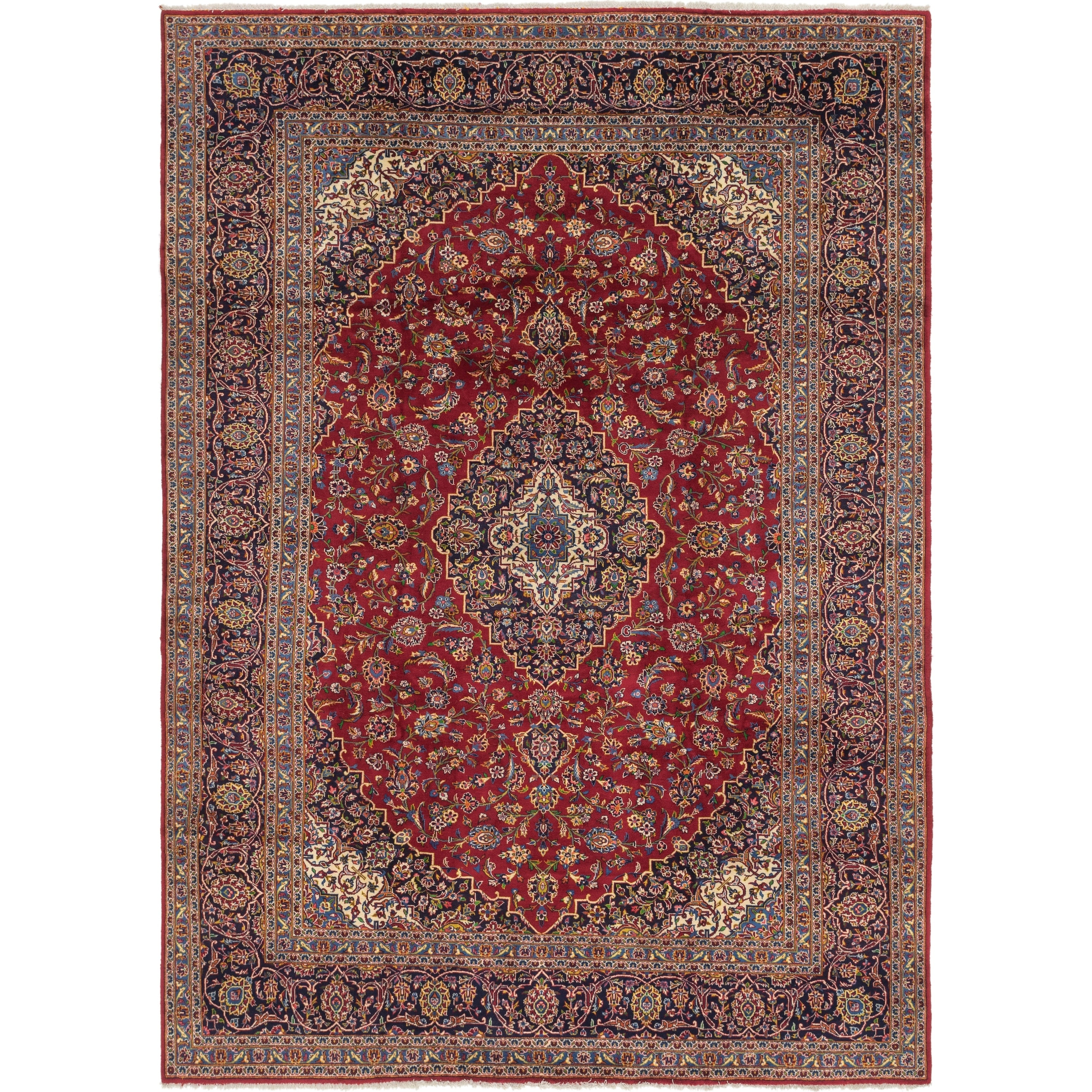 Hand Knotted Kashan Wool Area Rug - 9 4 x 12 9 (Red - 9 4 x 12 9)