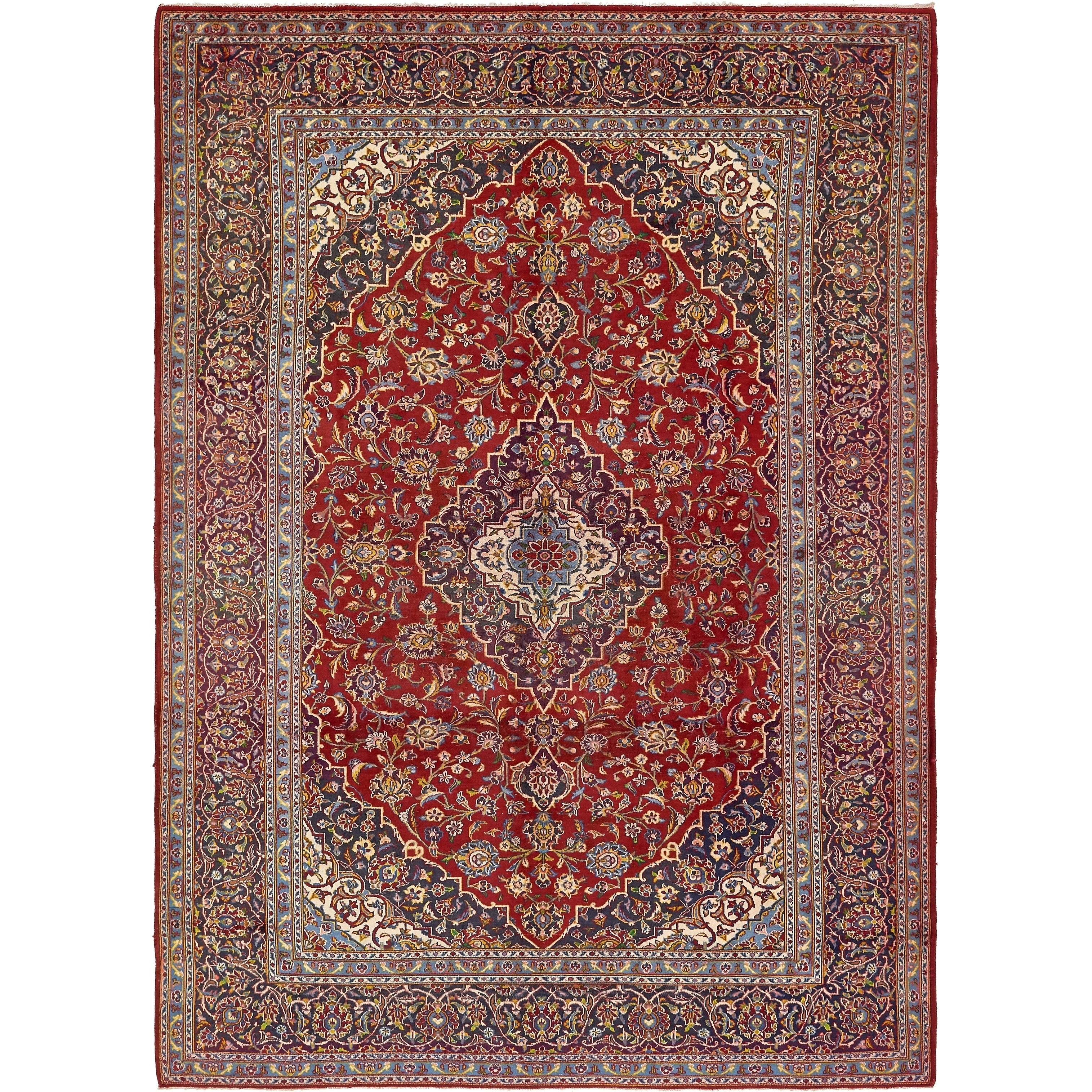 Hand Knotted Kashan Semi Antique Wool Area Rug - 8 4 x 11 6 (Red - 8 4 x 11 6)