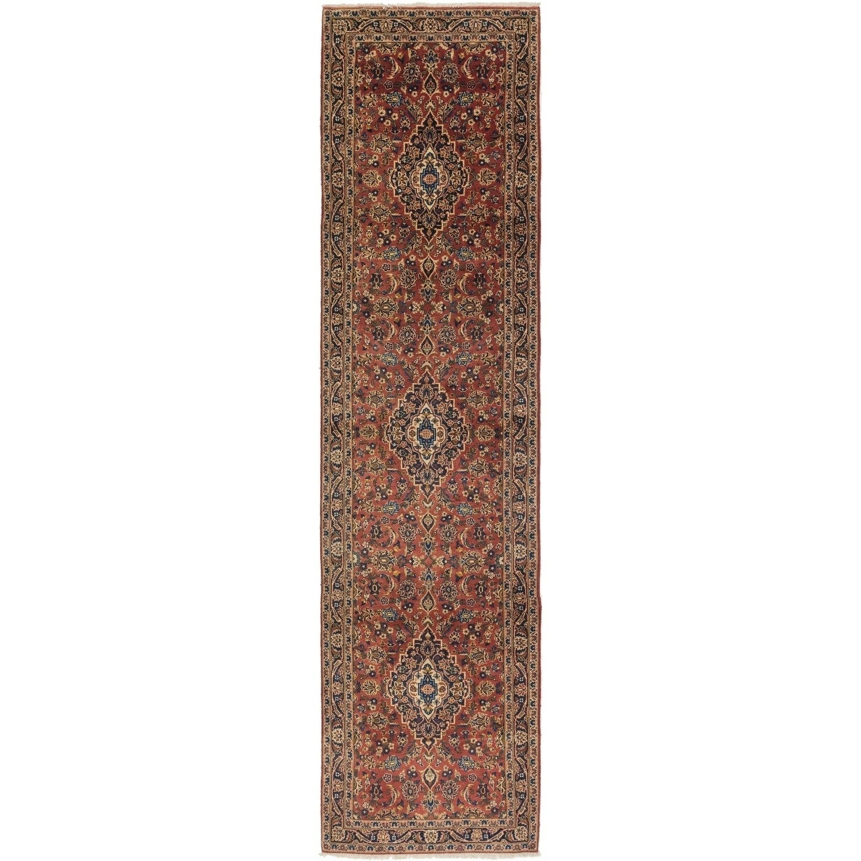 Hand Knotted Kashan Wool Runner Rug - 3 5 x 13 10 (Red - 3 5 x 13 10)