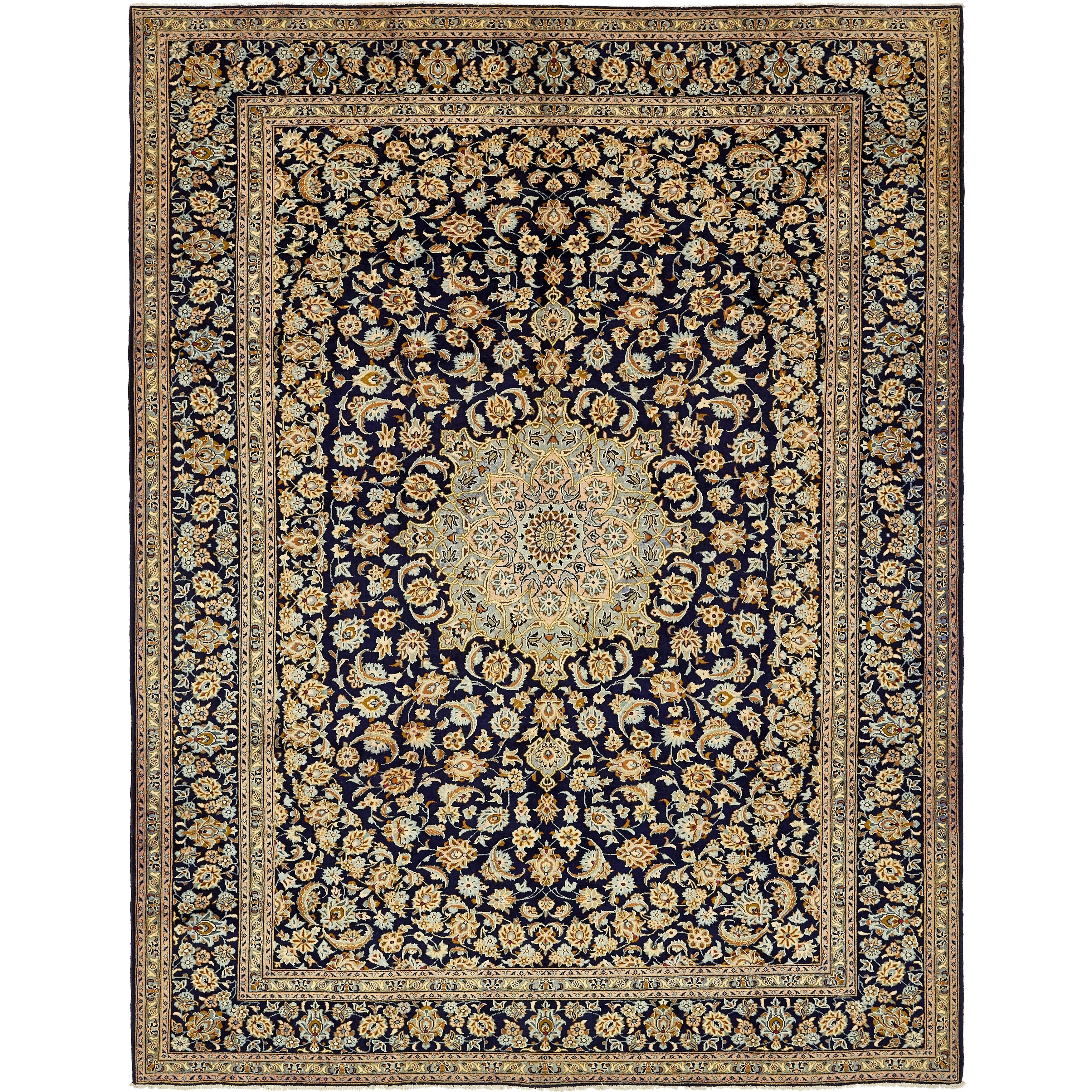 Hand Knotted Kashan Semi Antique Wool Area Rug - 9 10 x 12 10 (Navy blue - 9 10 x 12 10)