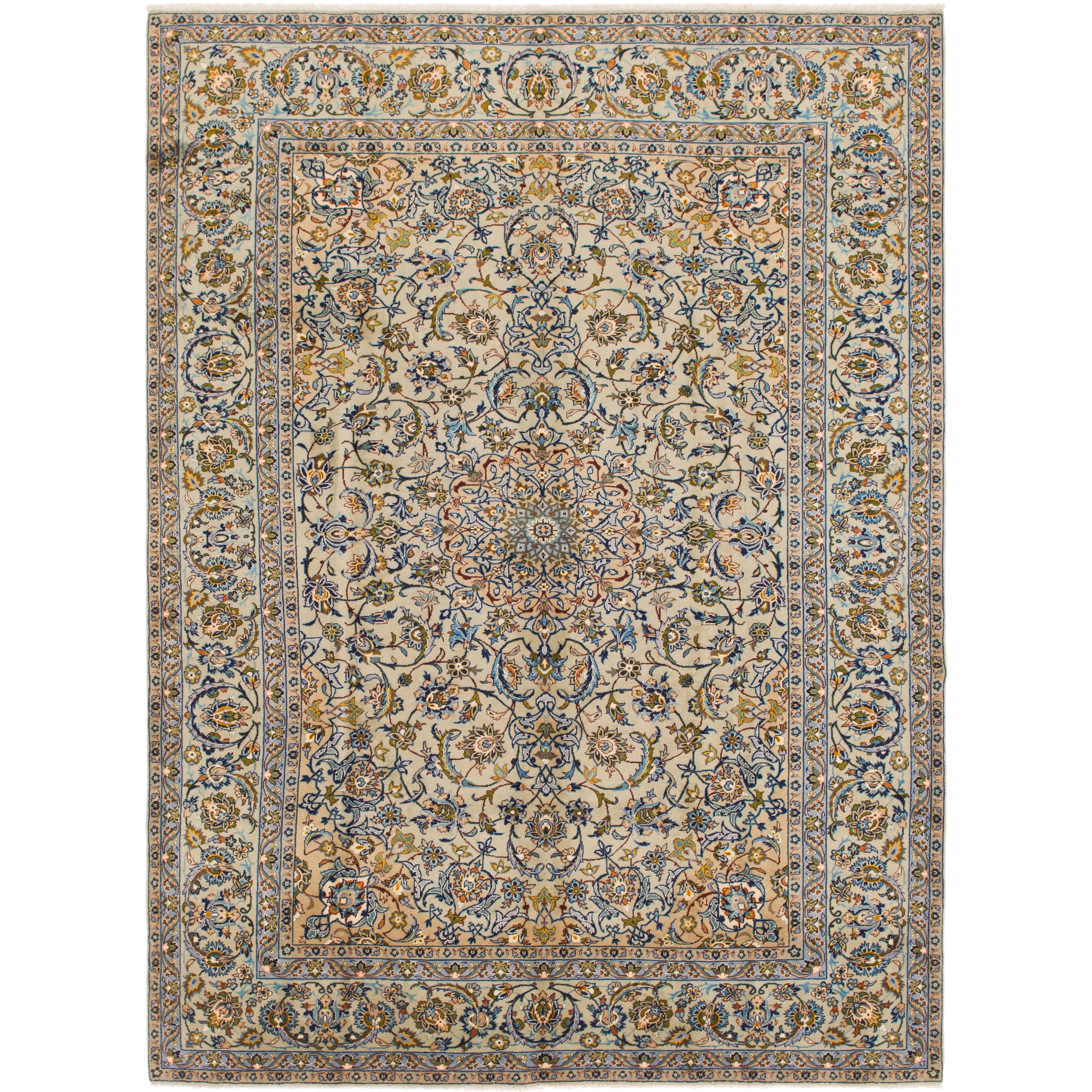 Hand Knotted Kashan Semi Antique Wool Area Rug - 9 7 x 13 (LIGHT GREEN - 9 7 x 13)