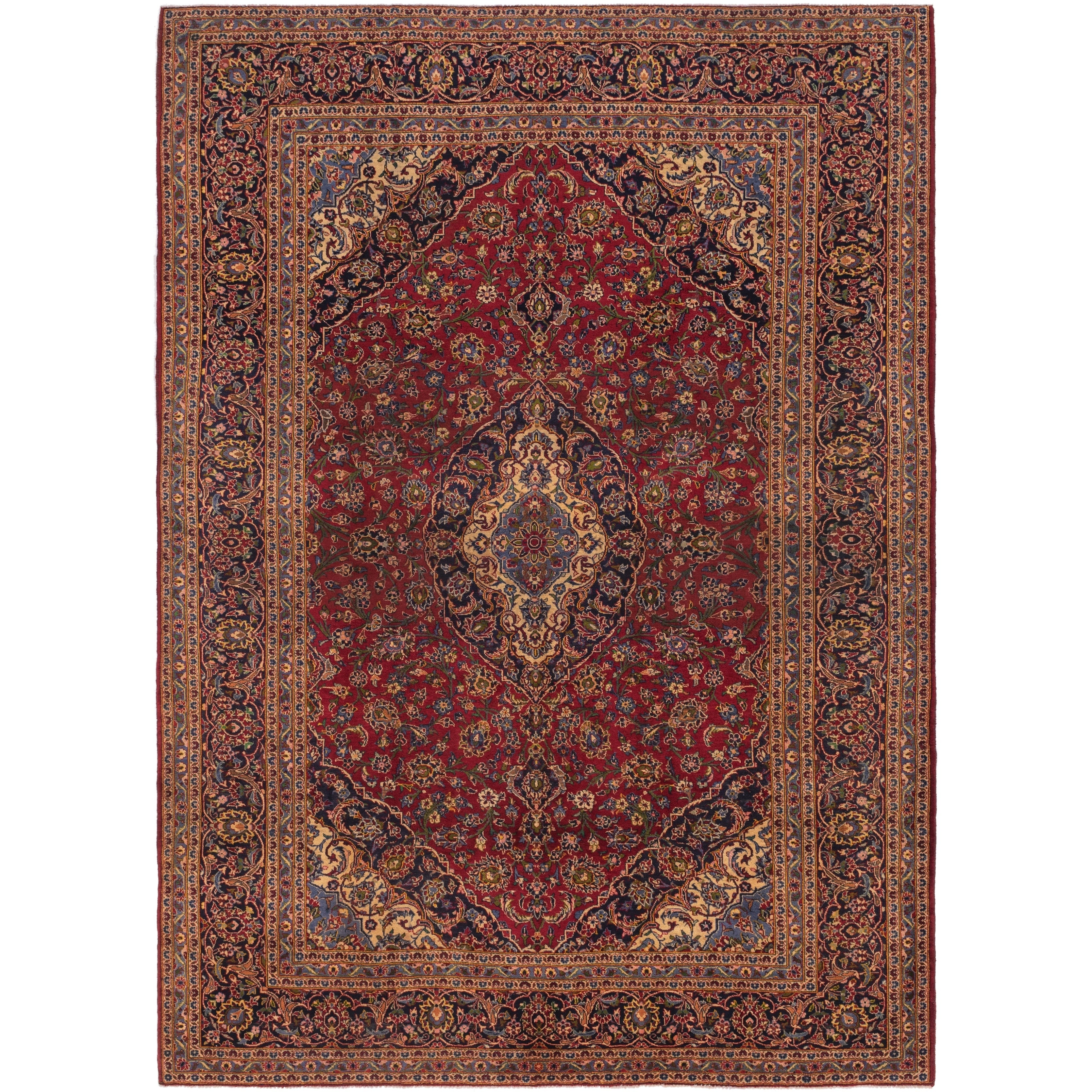 Hand Knotted Kashan Semi Antique Wool Area Rug - 9 10 x 13 7 (Red - 9 10 x 13 7)