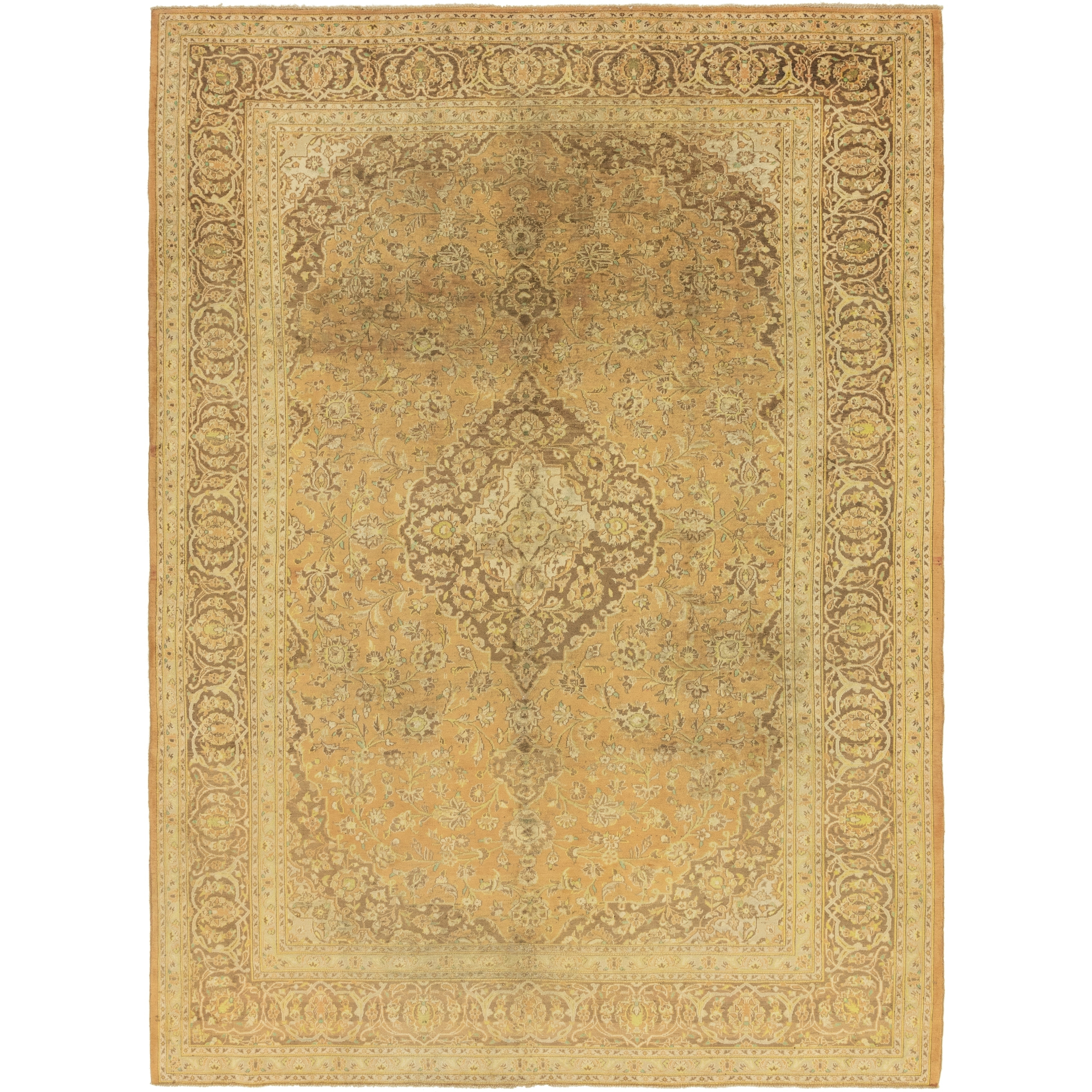 Hand Knotted Kashan Semi Antique Wool Area Rug - 9 9 x 13 6 (peach - 9 9 x 13 6)