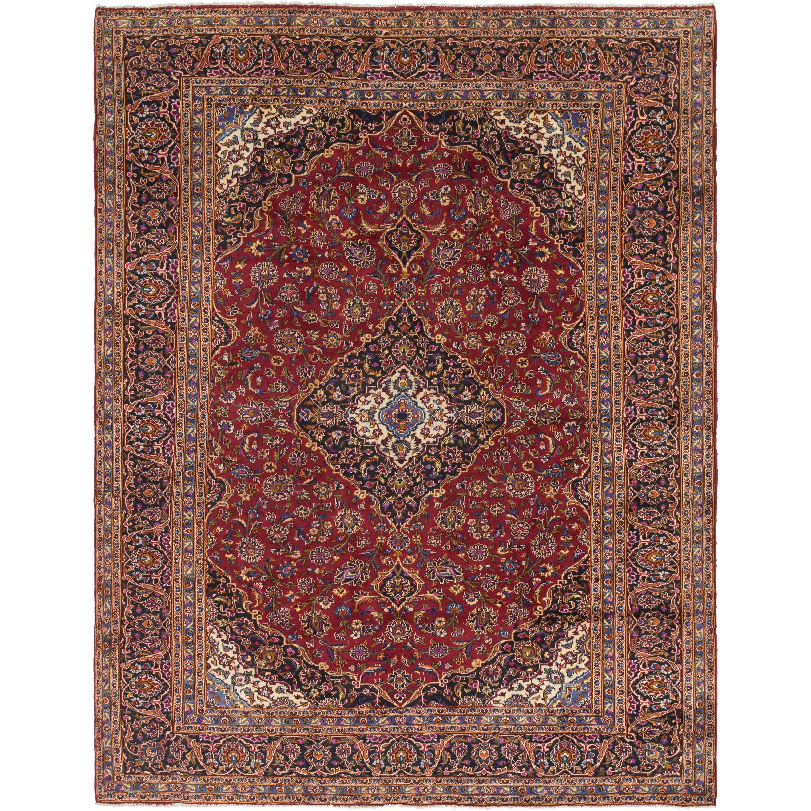 Hand Knotted Kashan Wool Area Rug - 9 9 x 13 (Red - 9 9 x 13)