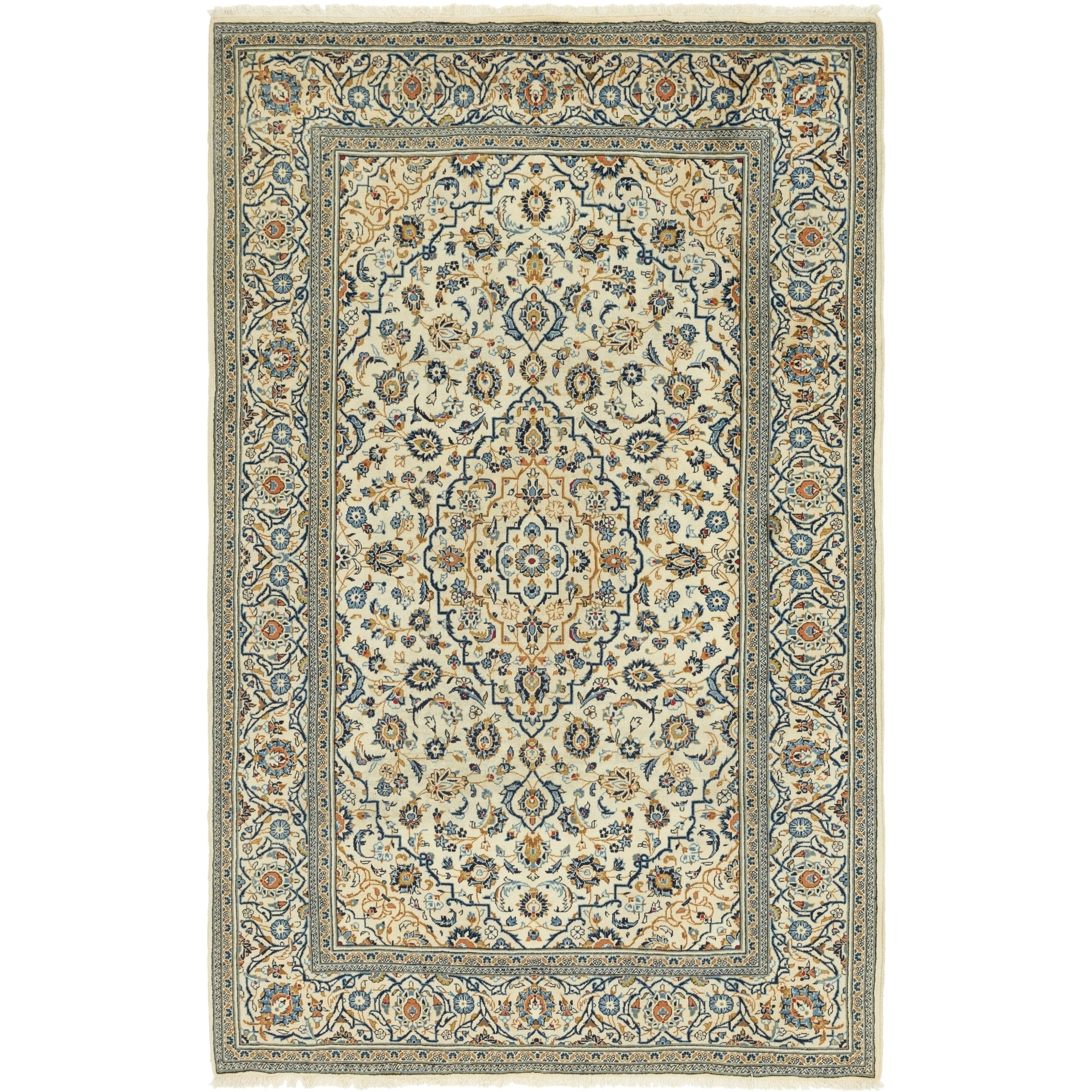 Hand Knotted Kashan Wool Area Rug - 6 7 x 10 4 (Ivory - 6 7 x 10 4)