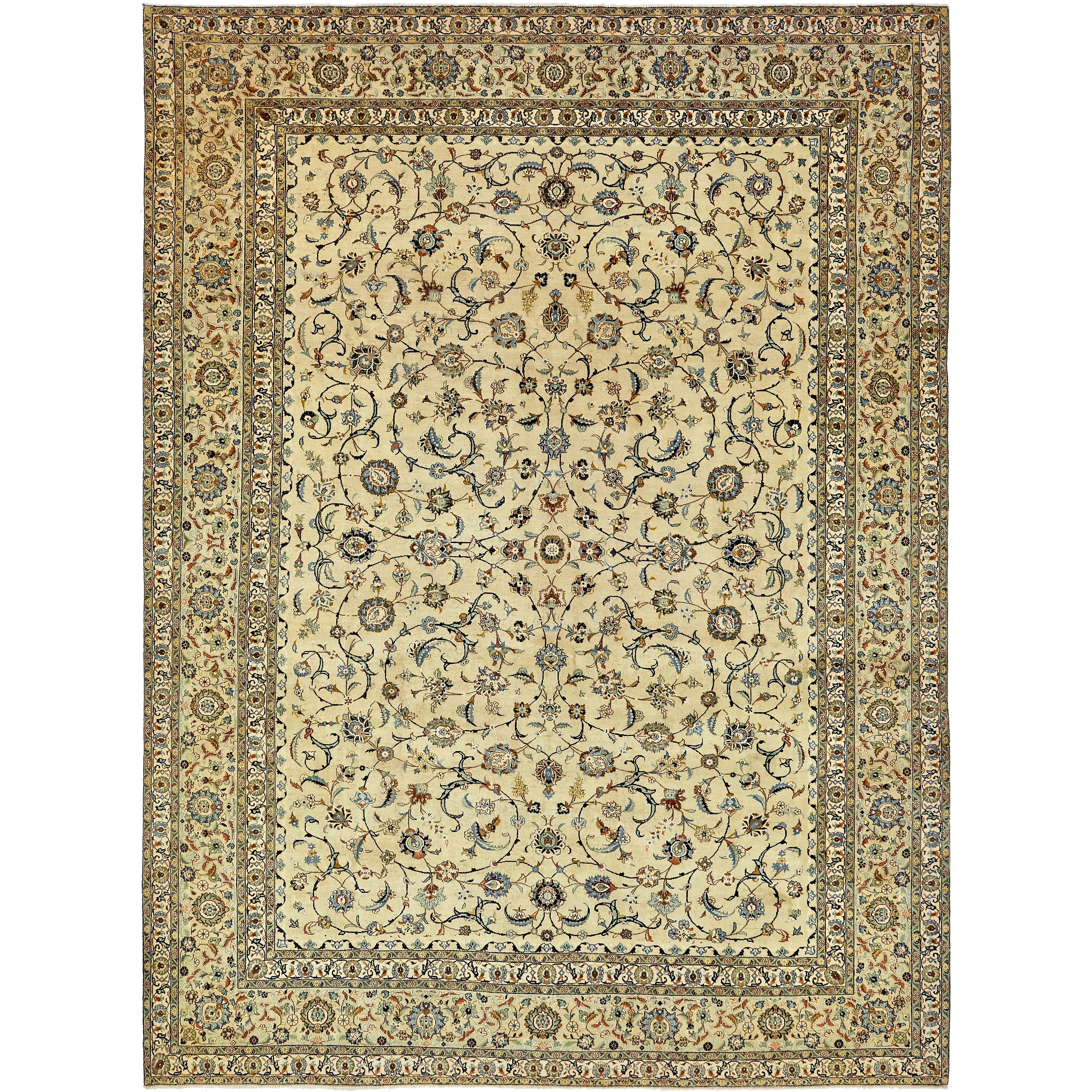 Hand Knotted Kashan Semi Antique Wool Area Rug - 10 2 x 13 6 (LIGHT GREEN - 10 2 x 13 6)