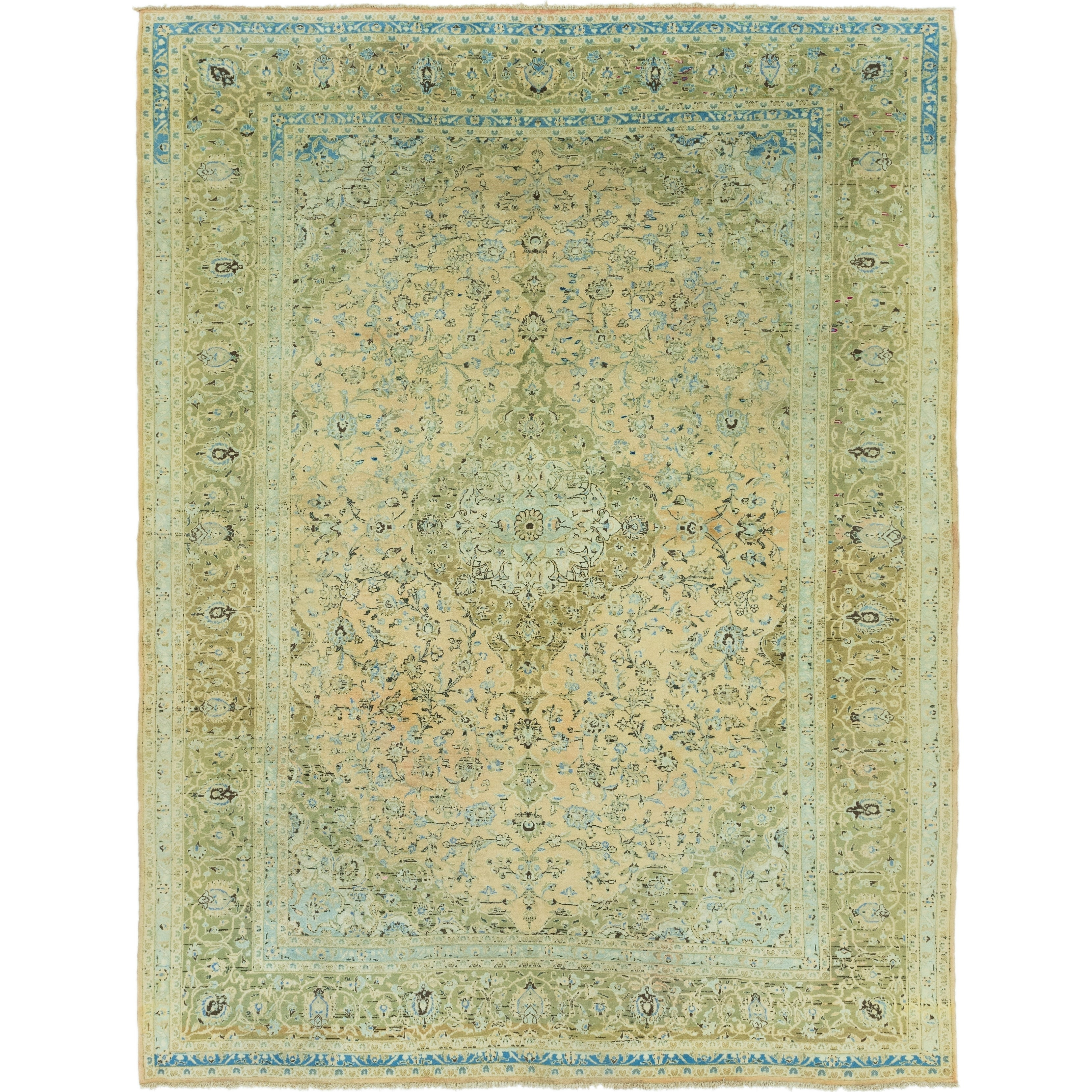 Hand Knotted Kashan Semi Antique Wool Area Rug - 9 10 x 13 2 (peach - 9 10 x 13 2)