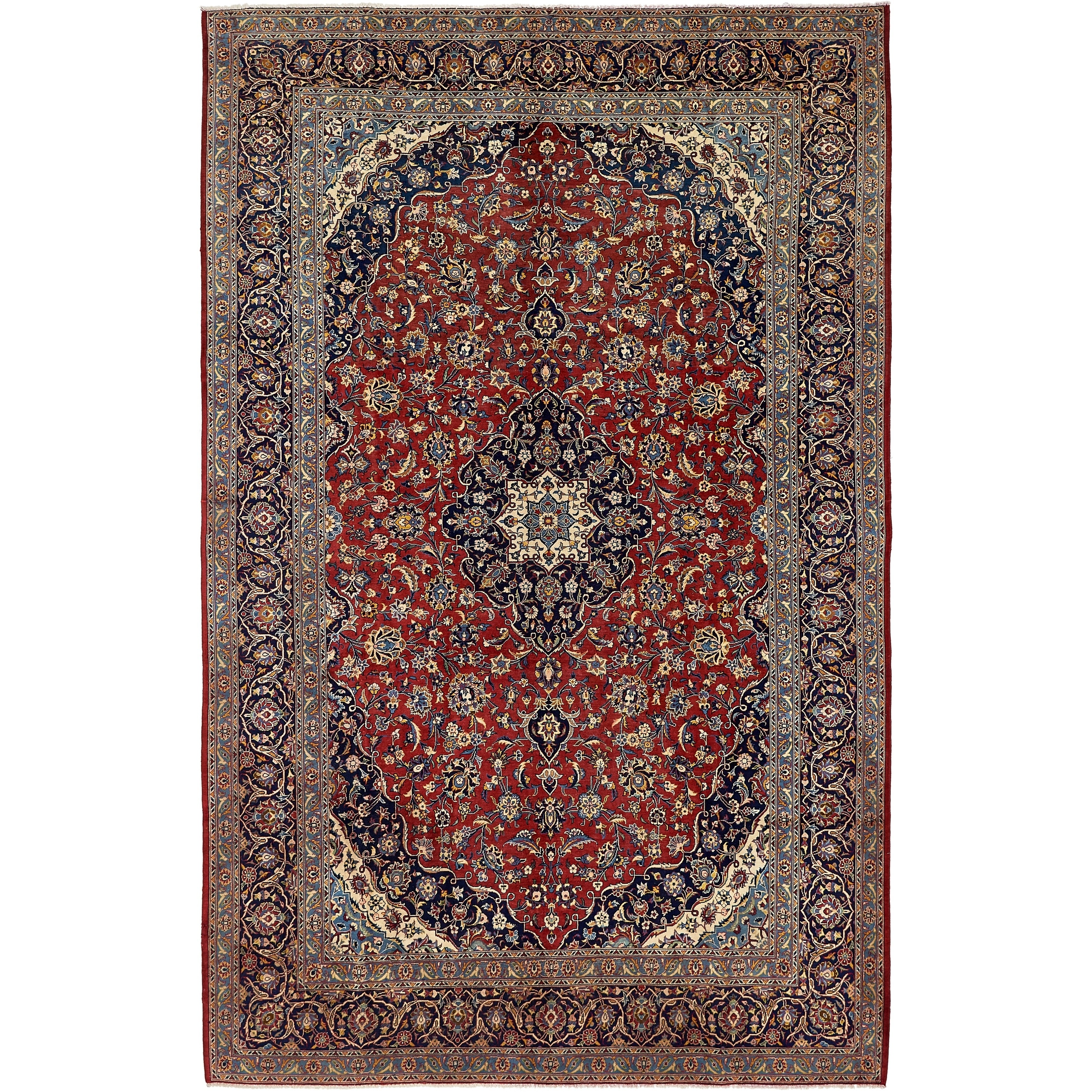 Hand Knotted Kashan Semi Antique Wool Area Rug - 8 5 x 12 10 (Red - 8 5 x 12 10)