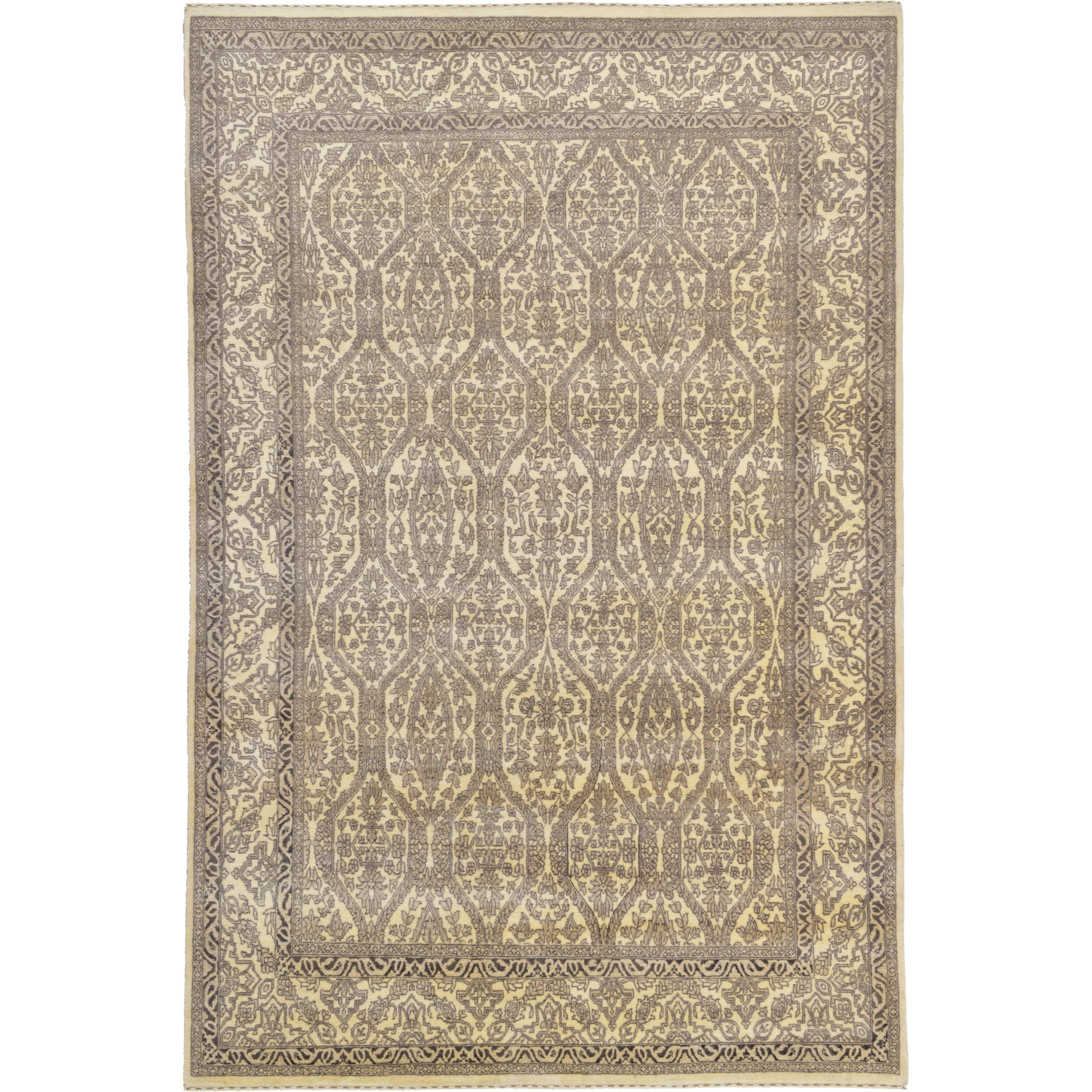 Hand Knotted Kashkuli Gabbeh Wool Area Rug - 6 8 x 10 1 (Cream - 6 8 x 10 1)