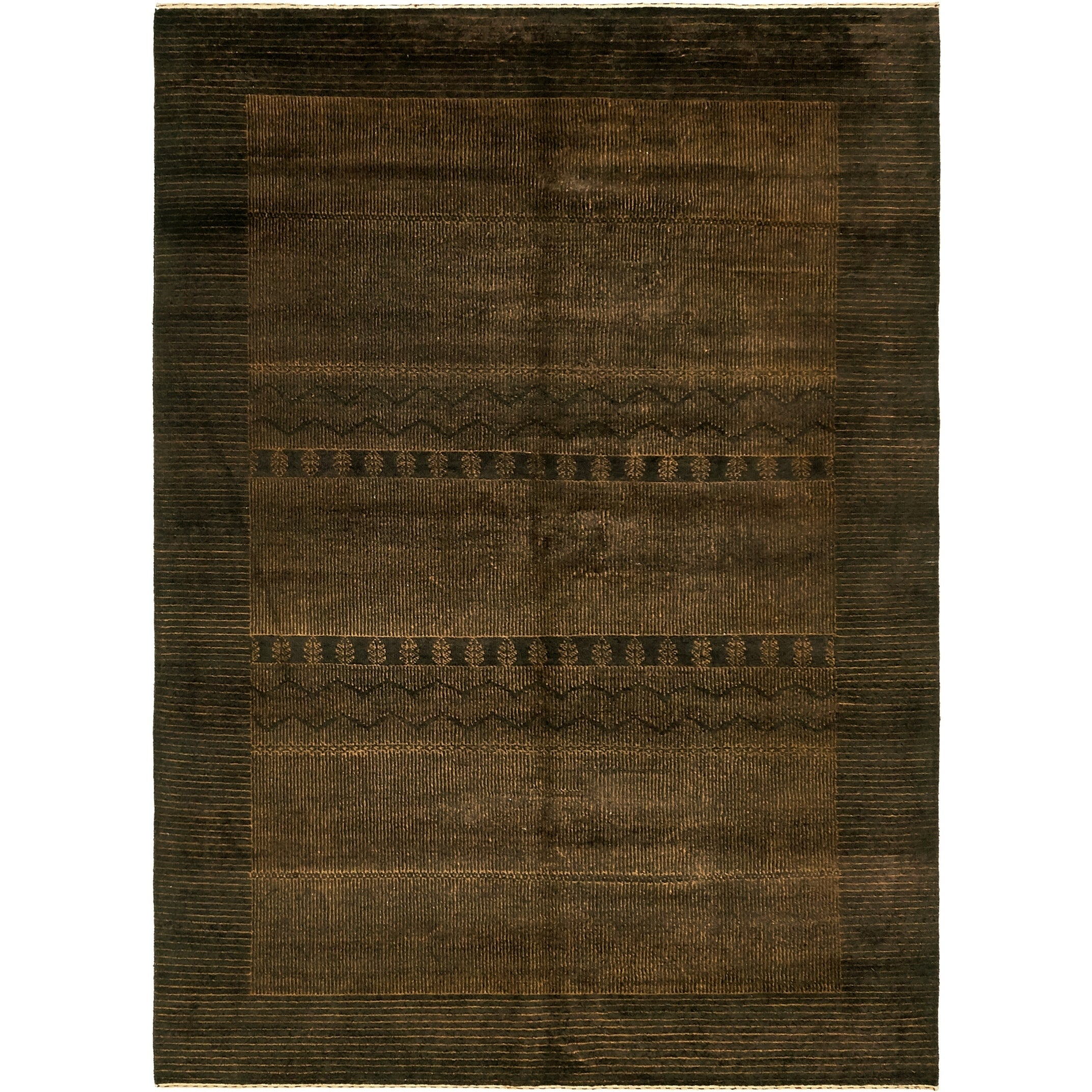 Hand Knotted Kashkuli Gabbeh Silk & Wool Area Rug - 5 10 x 8 2 (Brown - 5 10 x 8 2)