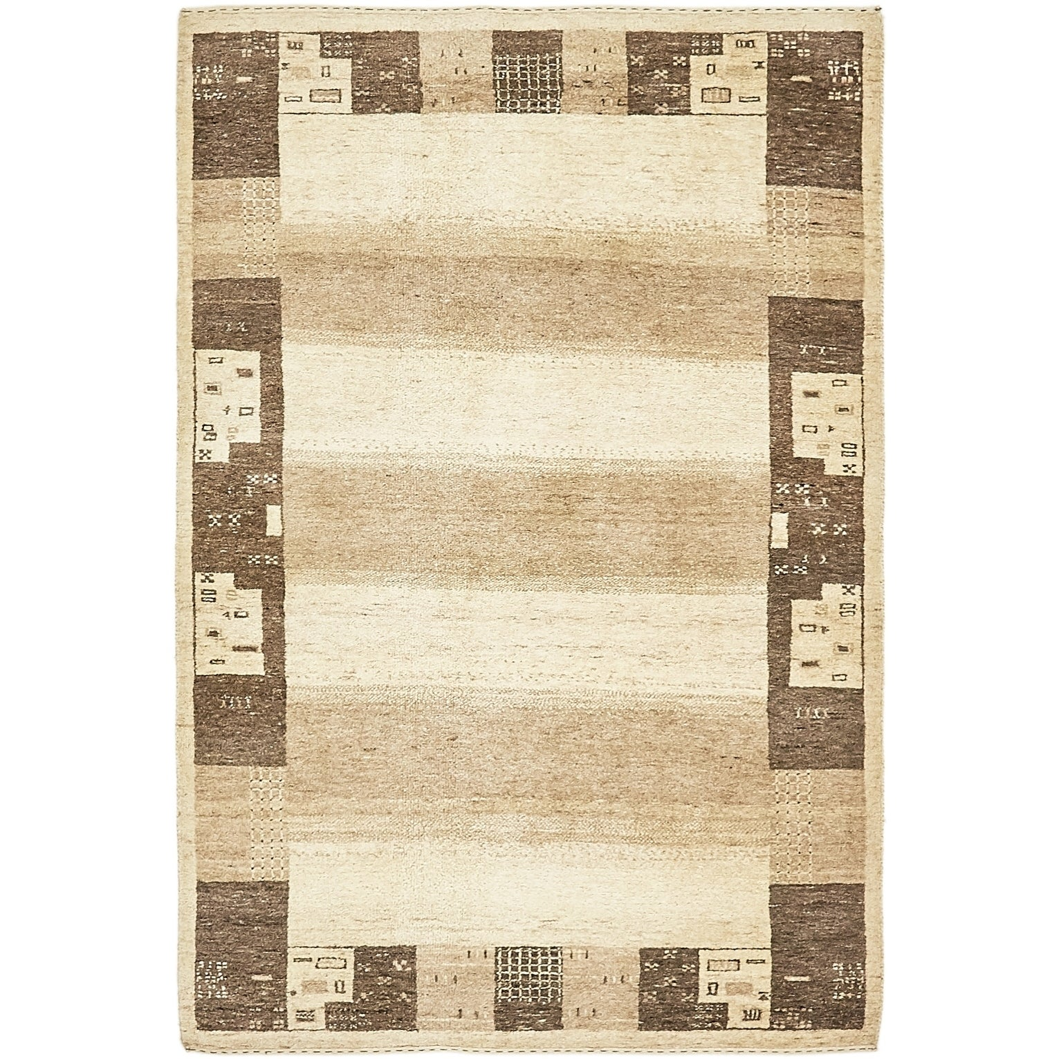 Hand Knotted Kashkuli Gabbeh Wool Area Rug - 4 x 5 9 (Cream - 4 x 5 9)
