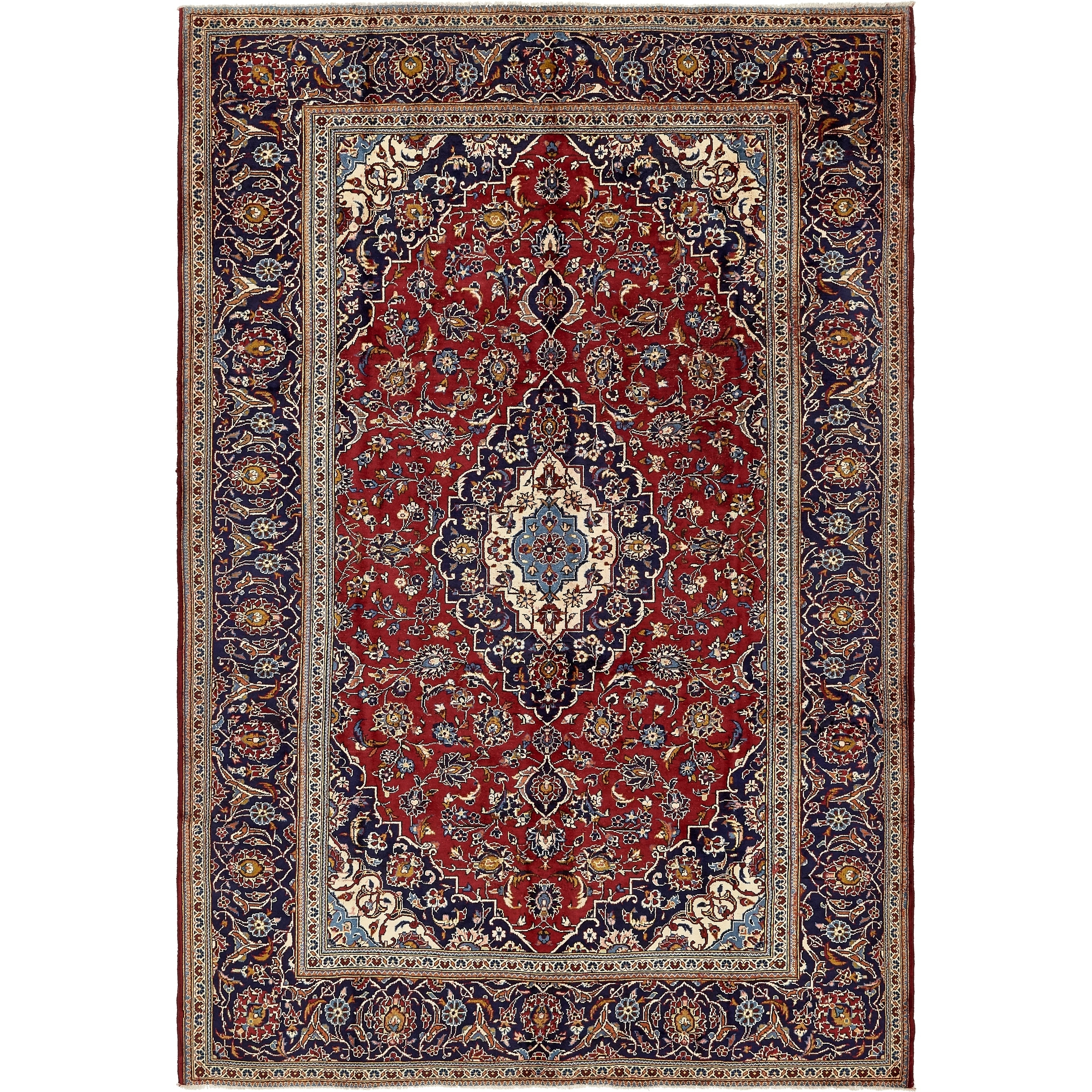 Hand Knotted Kashan Semi Antique Wool Area Rug - 7 10 x 11 6 (Red - 7 10 x 11 6)