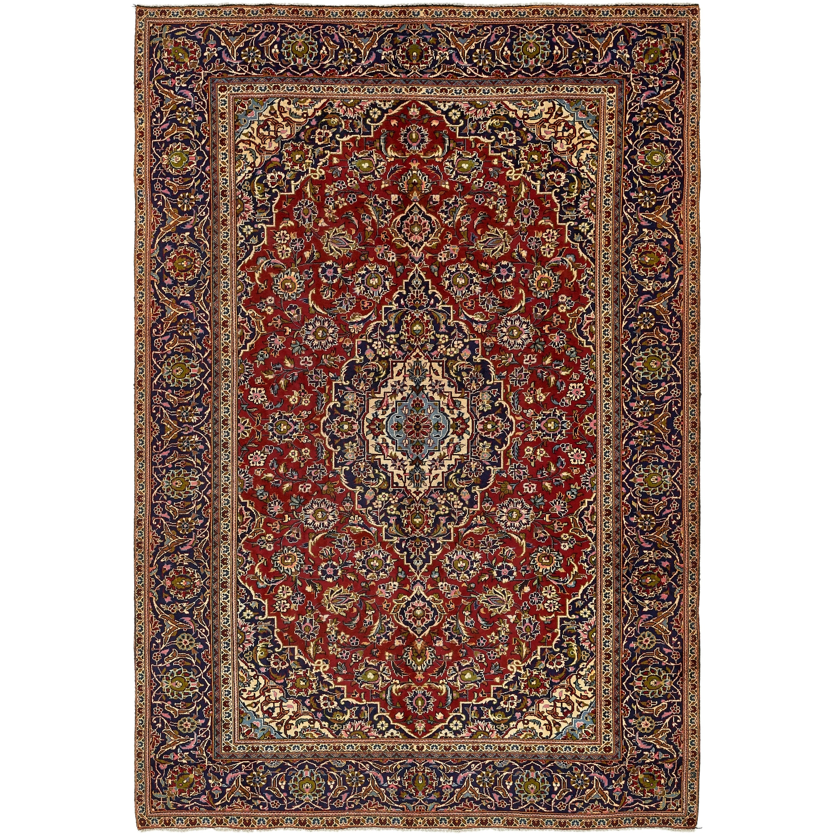 Hand Knotted Kashan Semi Antique Wool Area Rug - 7 8 x 11 (Red - 7 8 x 11)