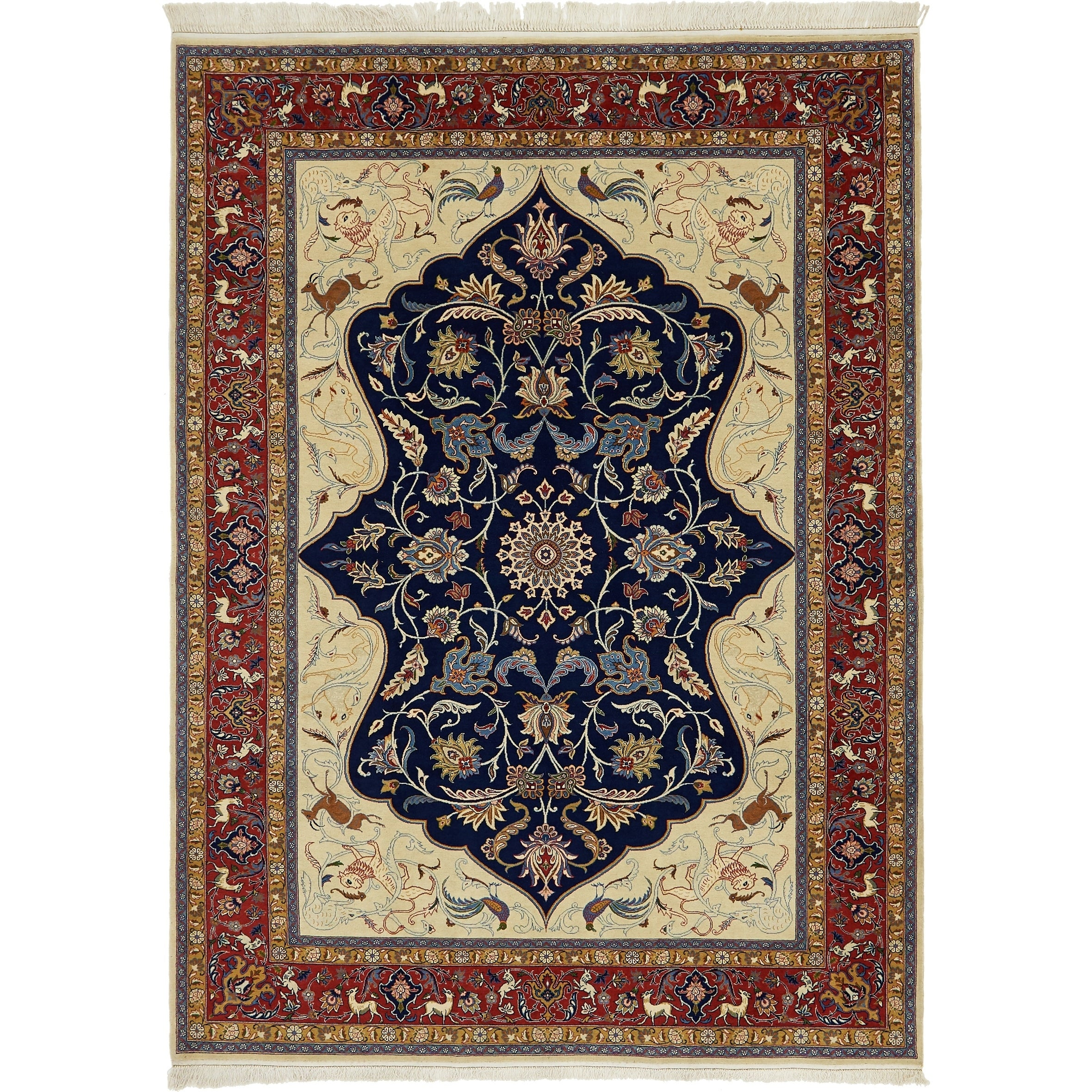 Hand Knotted Kashan Semi Antique Kork Wool Area Rug - 6 10 x 9 6 (Navy blue - 6 10 x 9 6)