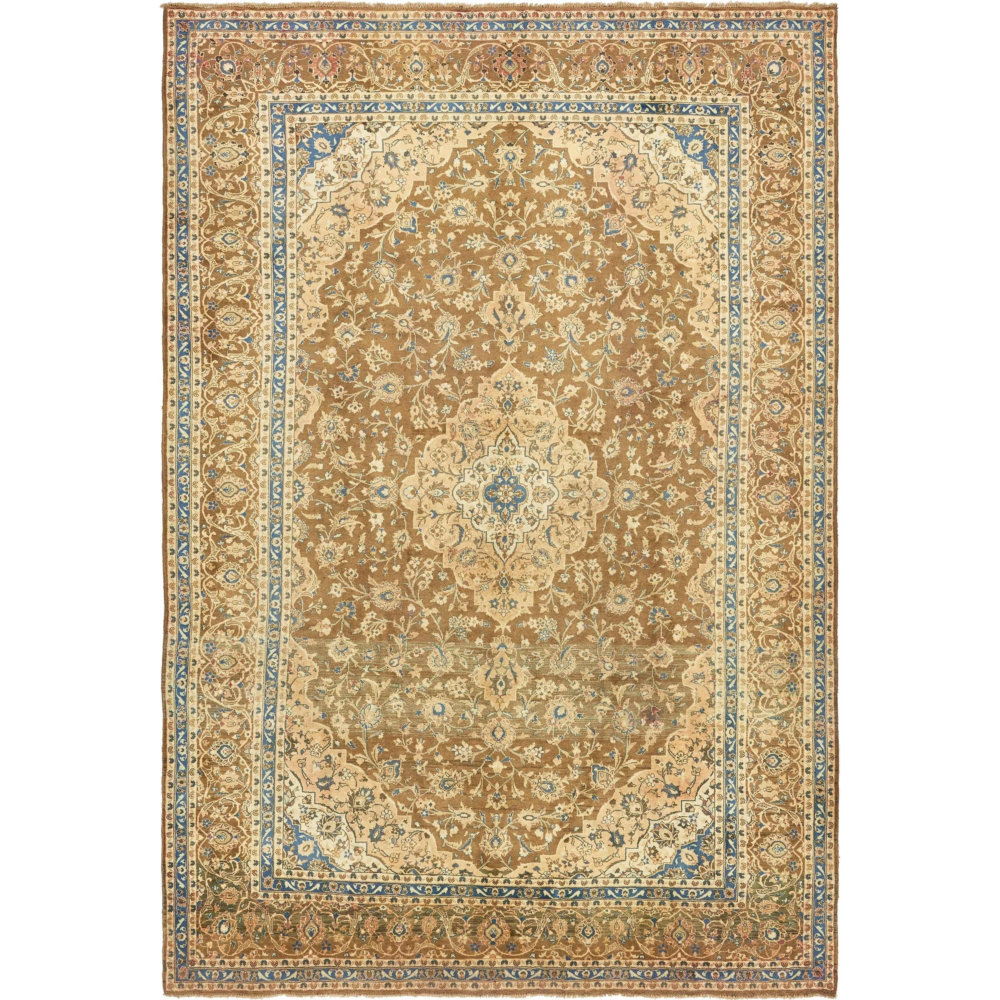 Hand Knotted Kashan Semi Antique Wool Area Rug - 9 8 x 14 4 (Olive - 9 8 x 14 4)