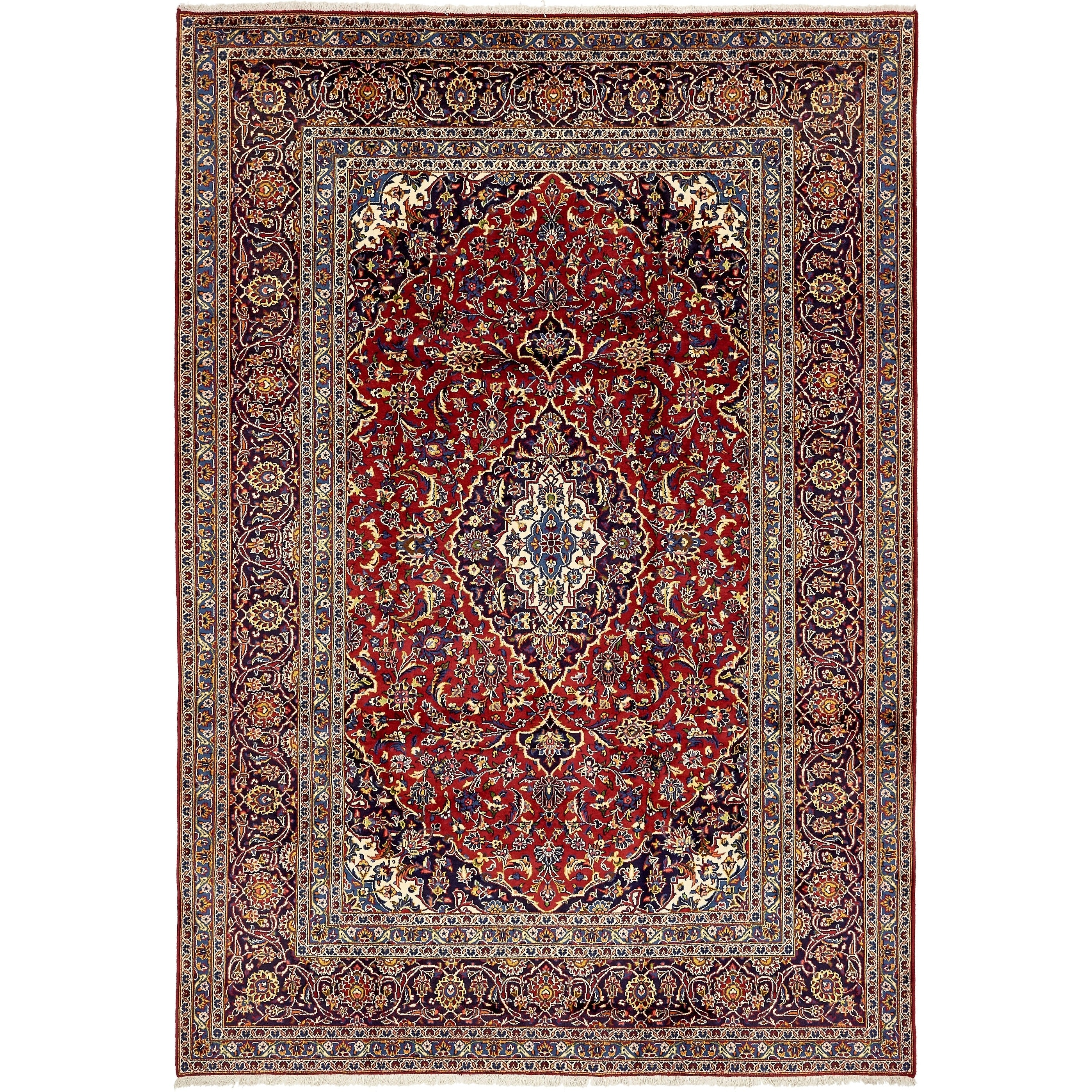 Hand Knotted Kashan Semi Antique Wool Area Rug - 7 10 x 11 2 (Red - 7 10 x 11 2)