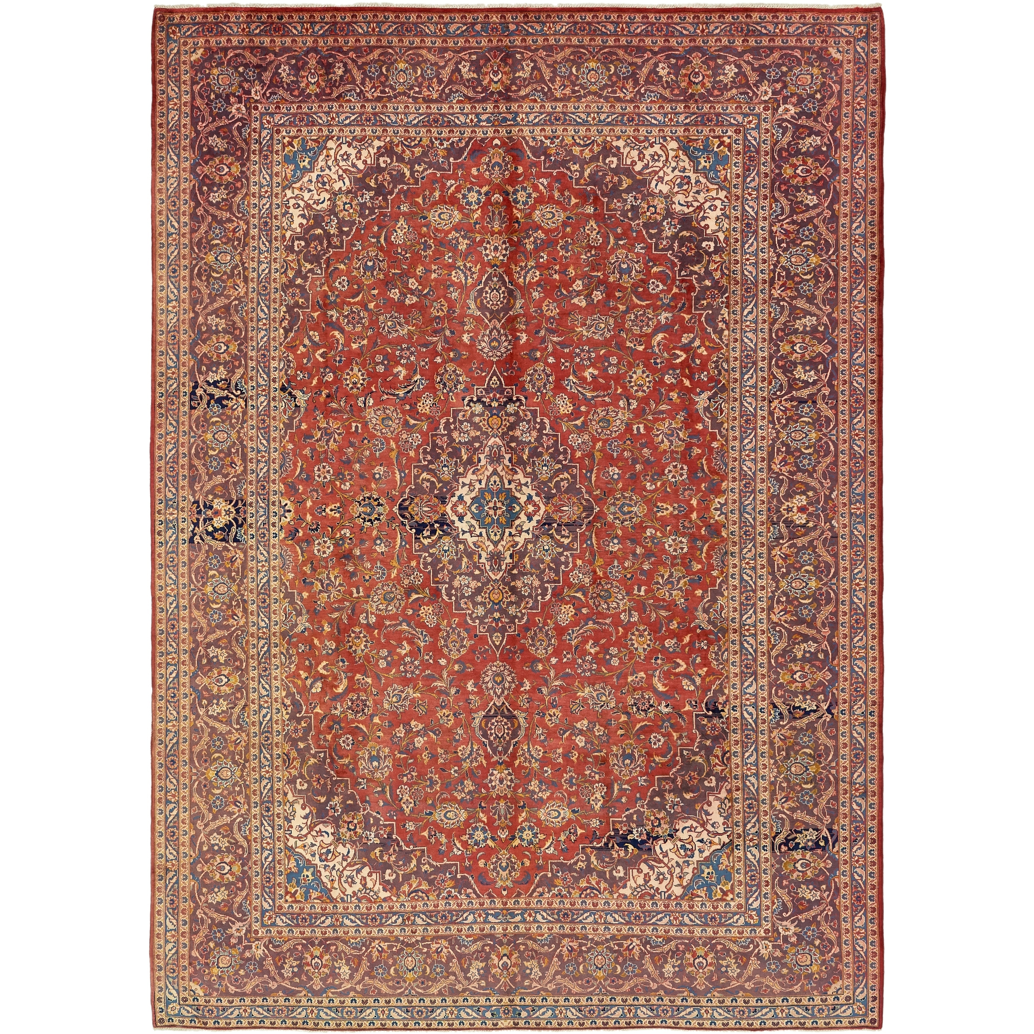 Hand Knotted Kashan Antique Wool Area Rug - 9 6 x 13 5 (Red - 9 6 x 13 5)