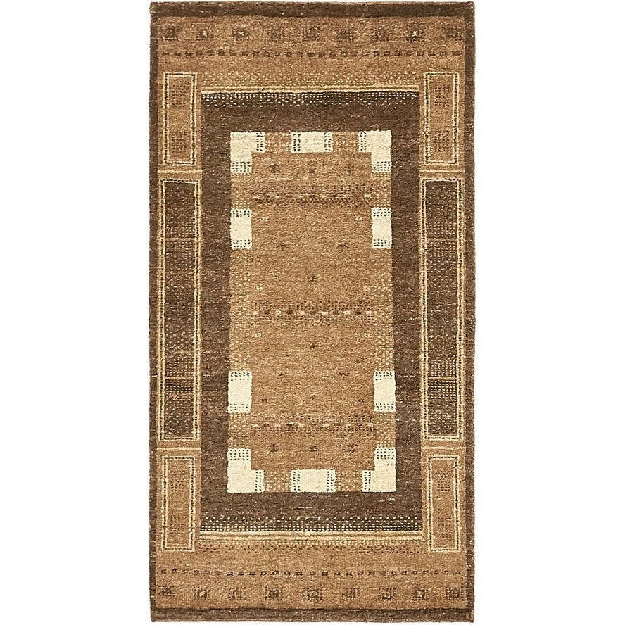 Hand Knotted Kashkuli Gabbeh Wool Area Rug - 2 3 x 4 6 (Brown - 2 3 x 4 6)