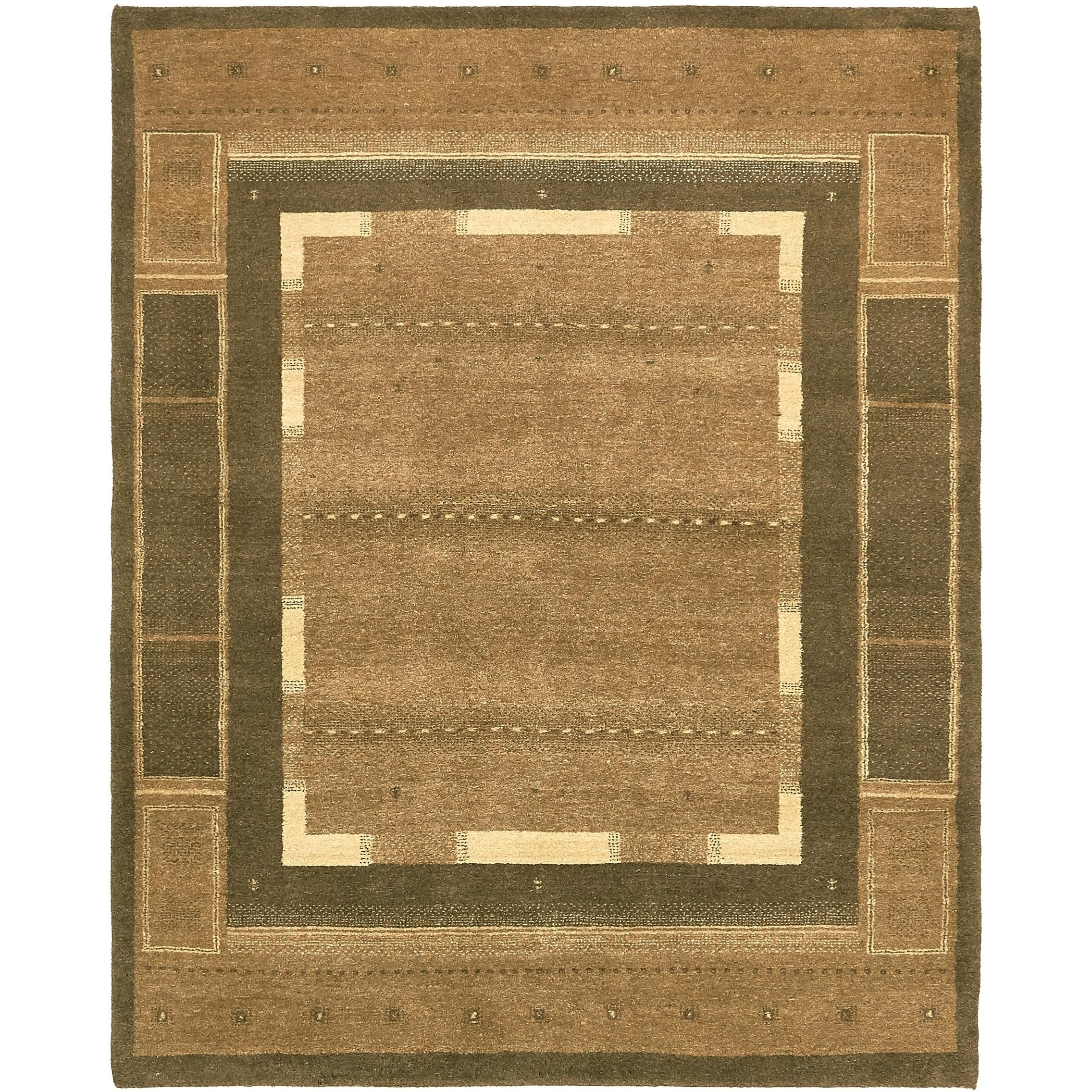 Hand Knotted Kashkuli Gabbeh Wool Area Rug - 6 3 x 7 9 (Brown - 6 3 x 7 9)