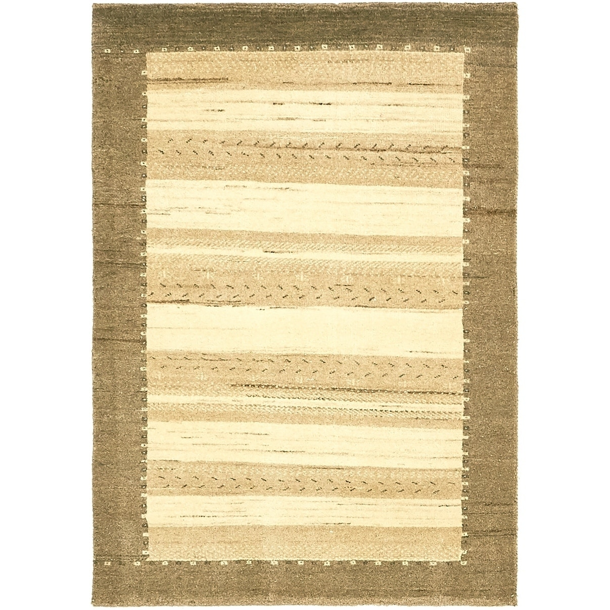 Hand Knotted Kashkuli Gabbeh Wool Area Rug - 3 4 x 4 9 (Cream - 3 4 x 4 9)