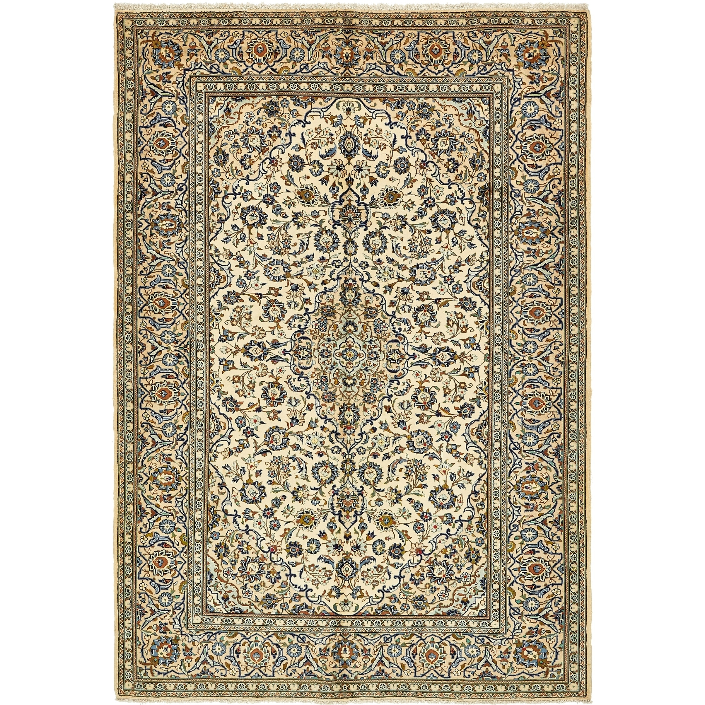 Hand Knotted Kashan Wool Area Rug - 6 6 x 9 6 (Ivory - 6 6 x 9 6)