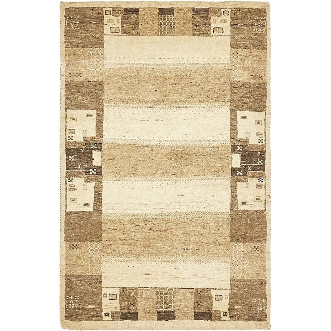 Hand Knotted Kashkuli Gabbeh Wool Area Rug - 2 9 x 4 3 (Cream - 2 9 x 4 3)