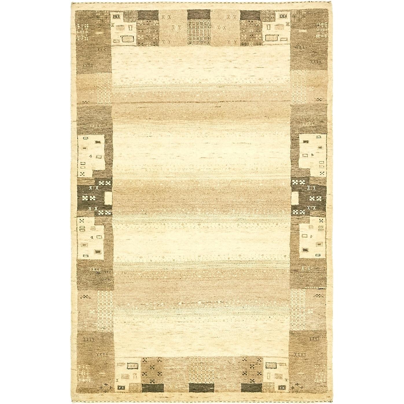Hand Knotted Kashkuli Gabbeh Wool Area Rug - 3 10 x 6 (Cream - 3 10 x 6)