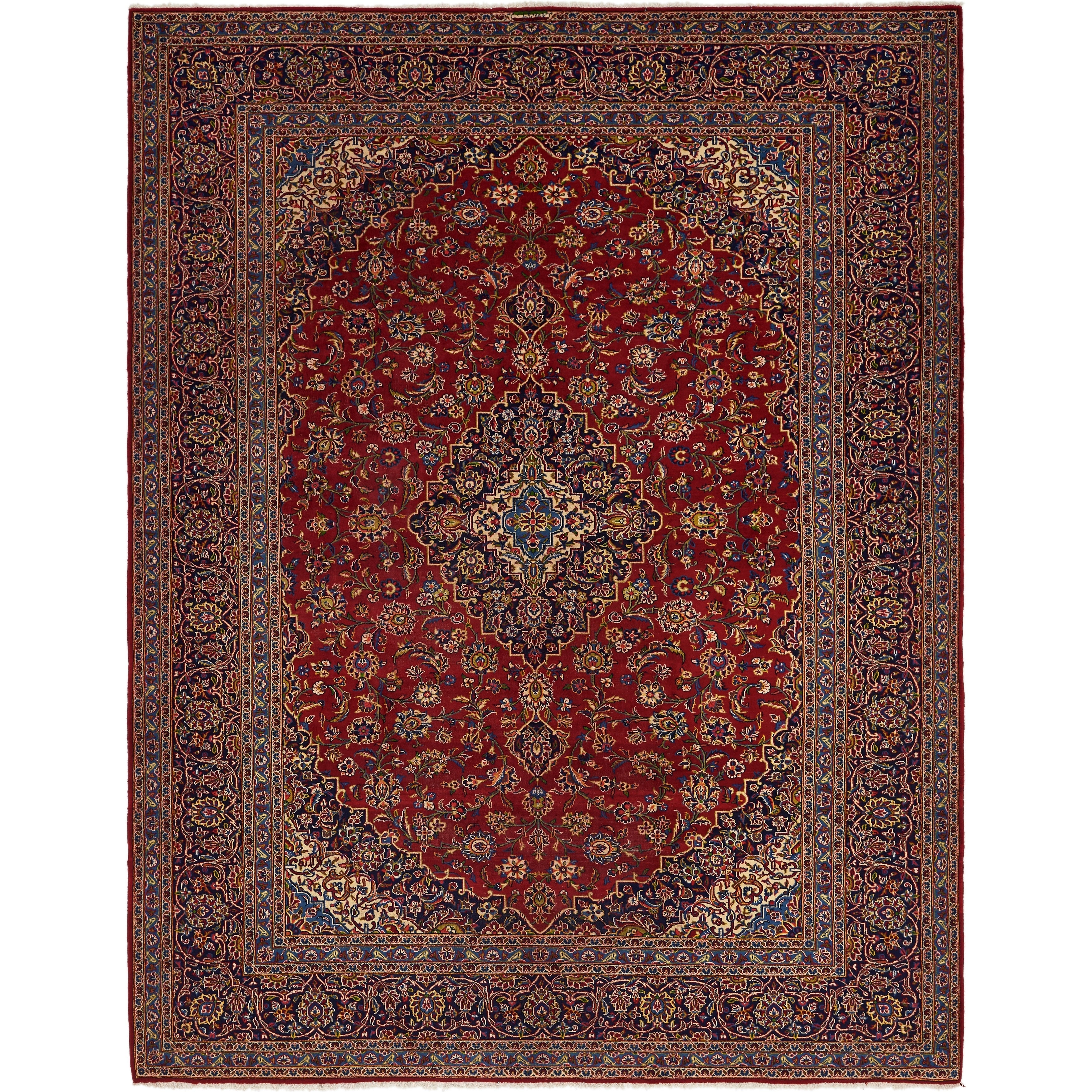 Hand Knotted Kashan Semi Antique Wool Area Rug - 9 10 x 13 (Red - 9 10 x 13)