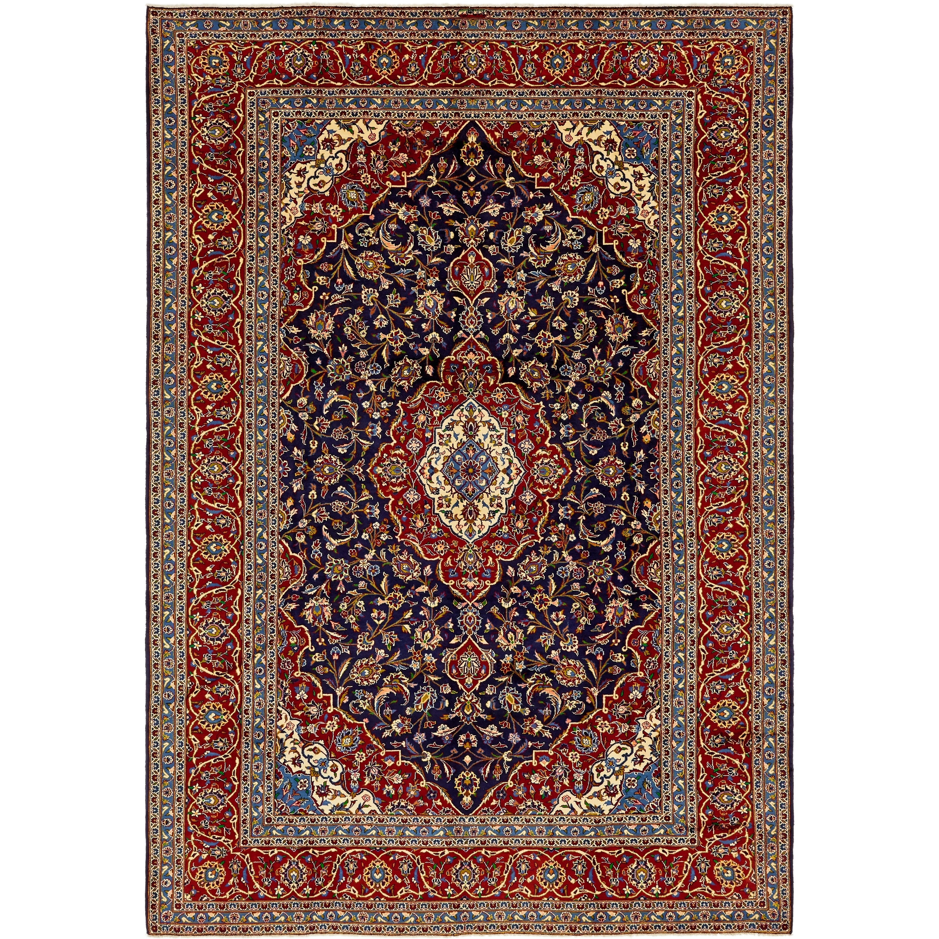 Hand Knotted Kashan Wool Area Rug - 9 x 12 8 (Navy blue - 9 x 12 8)