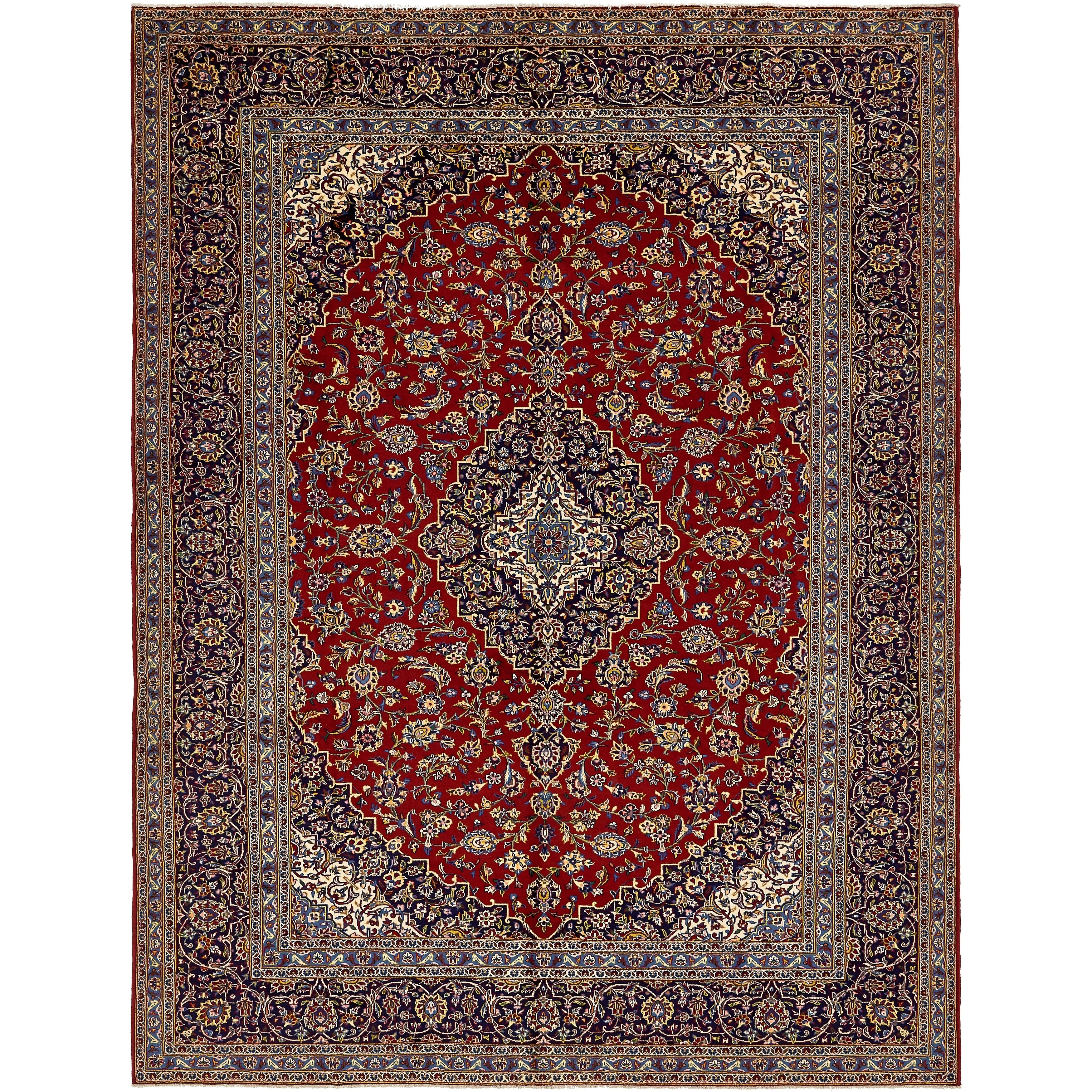 Hand Knotted Kashan Semi Antique Wool Area Rug - 10 x 12 10 (Red - 10 x 12 10)