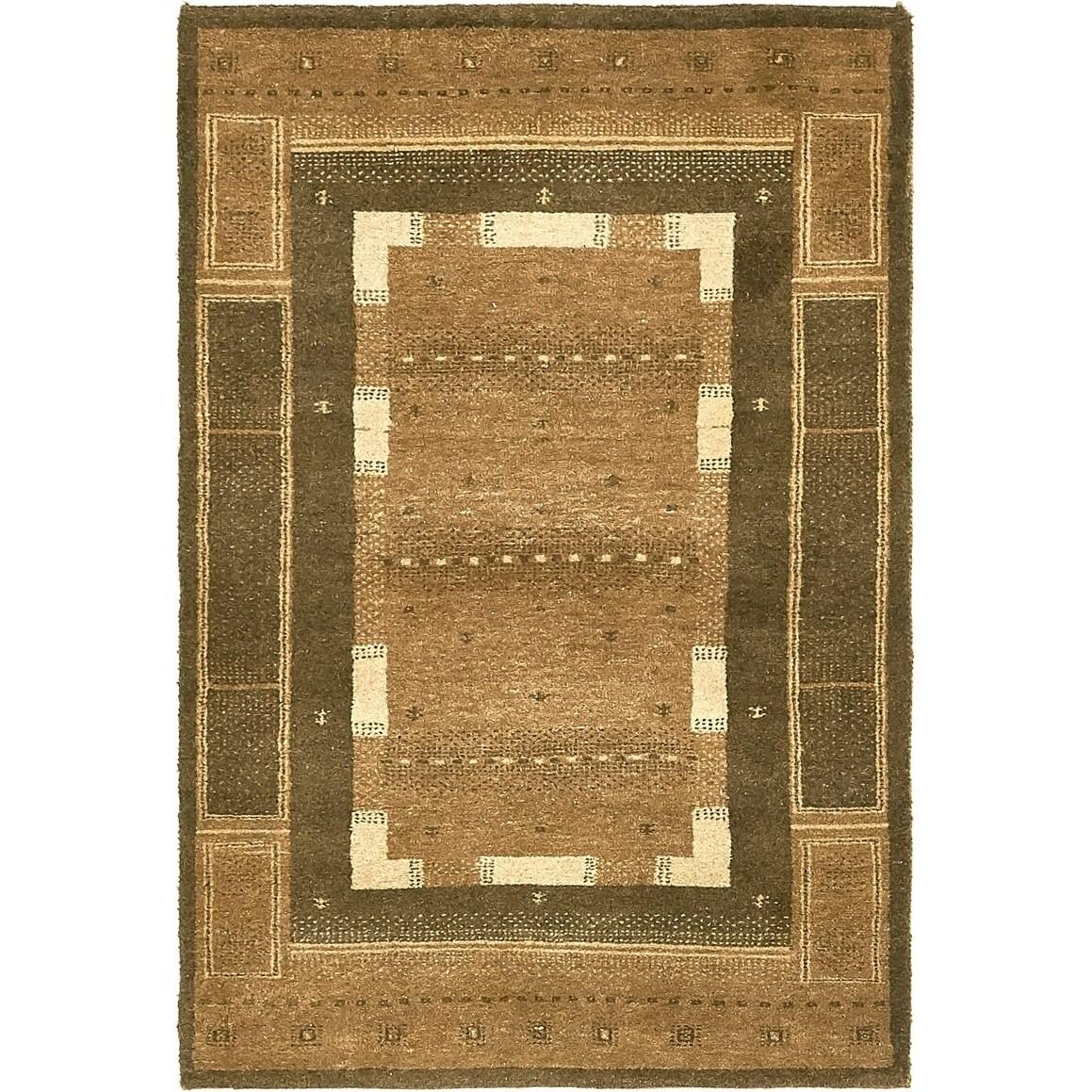 Hand Knotted Kashkuli Gabbeh Wool Area Rug - 3 2 x 4 9 (Brown - 3 2 x 4 9)