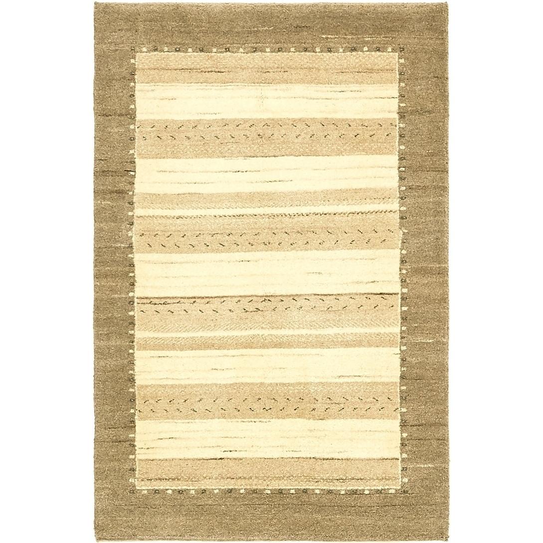 Hand Knotted Kashkuli Gabbeh Wool Area Rug - 3 x 4 7 (Cream - 3 x 4 7)