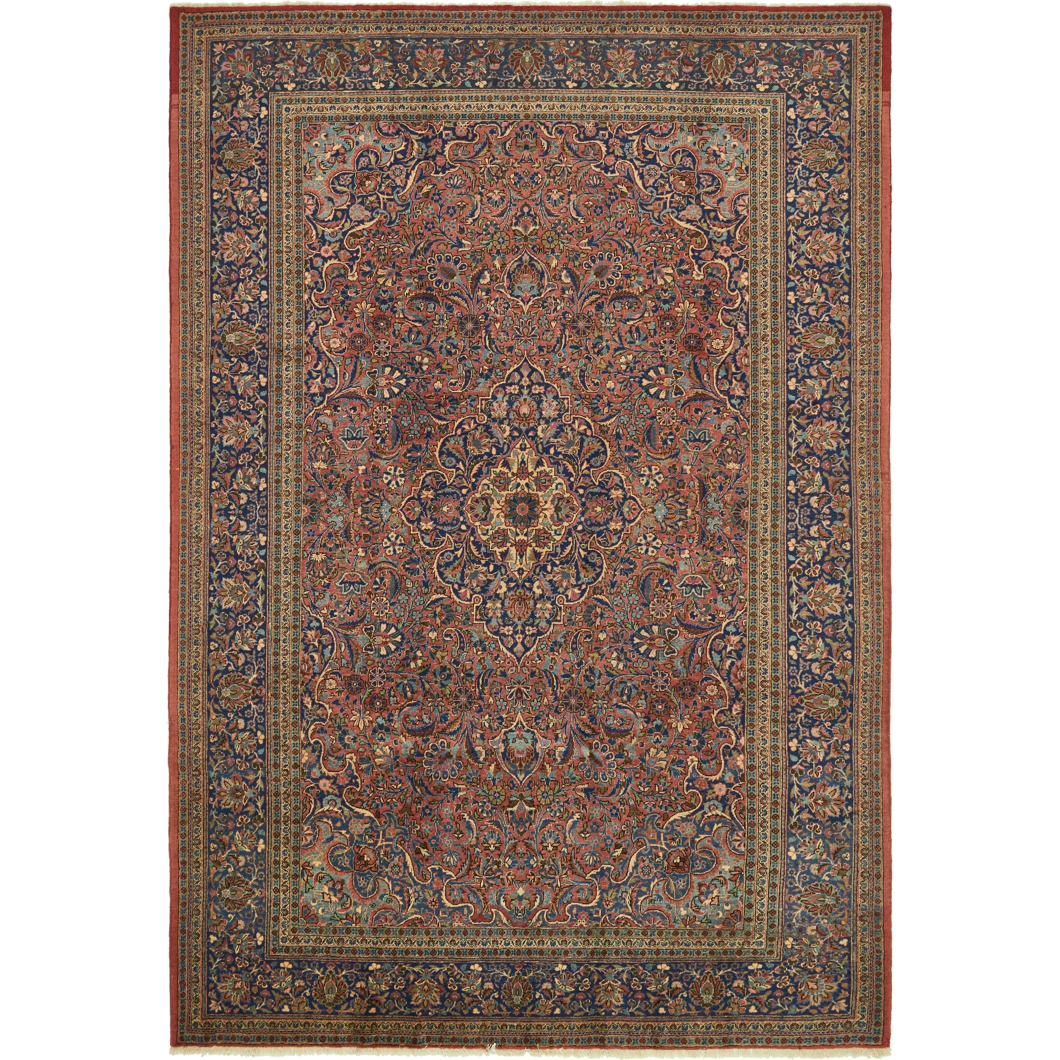 Hand Knotted Kashan Antique Wool Area Rug - 9 x 12 10 (peach - 9 x 12 10)