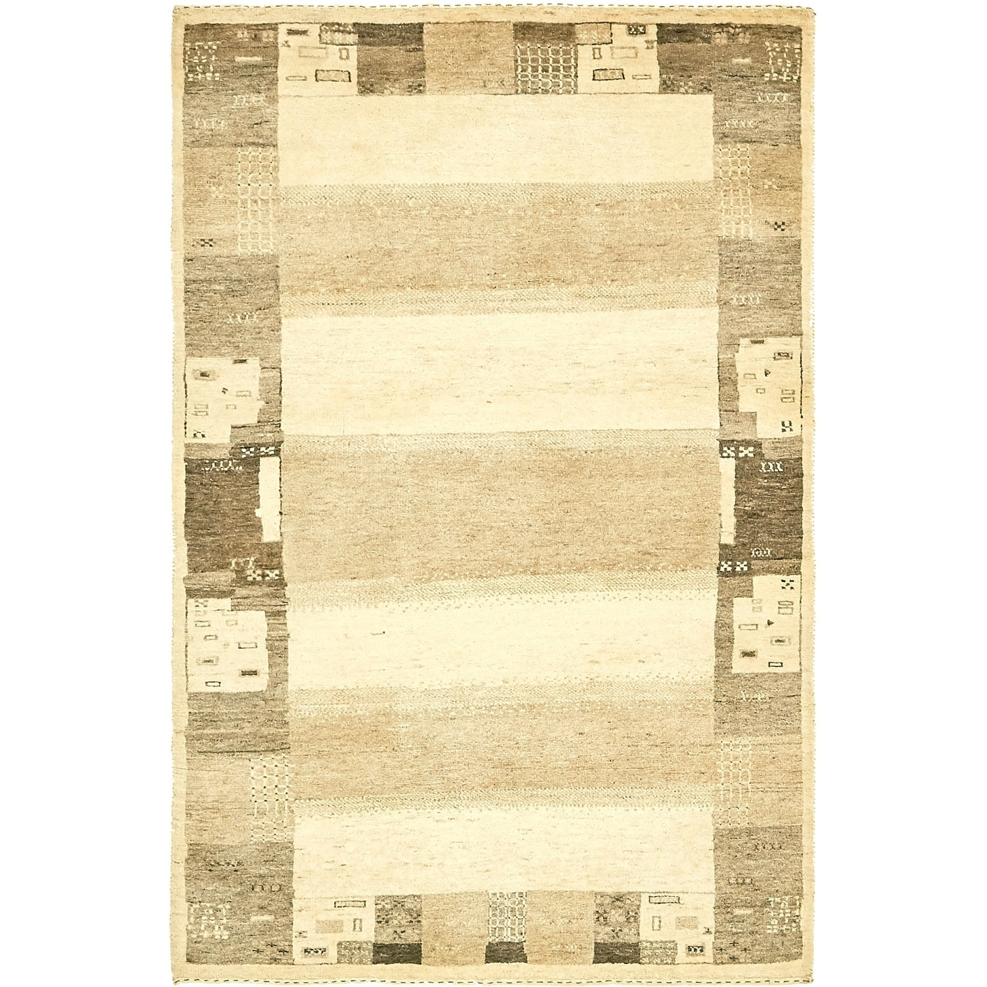 Hand Knotted Kashkuli Gabbeh Wool Area Rug - 4 x 6 (Cream - 4 x 6)