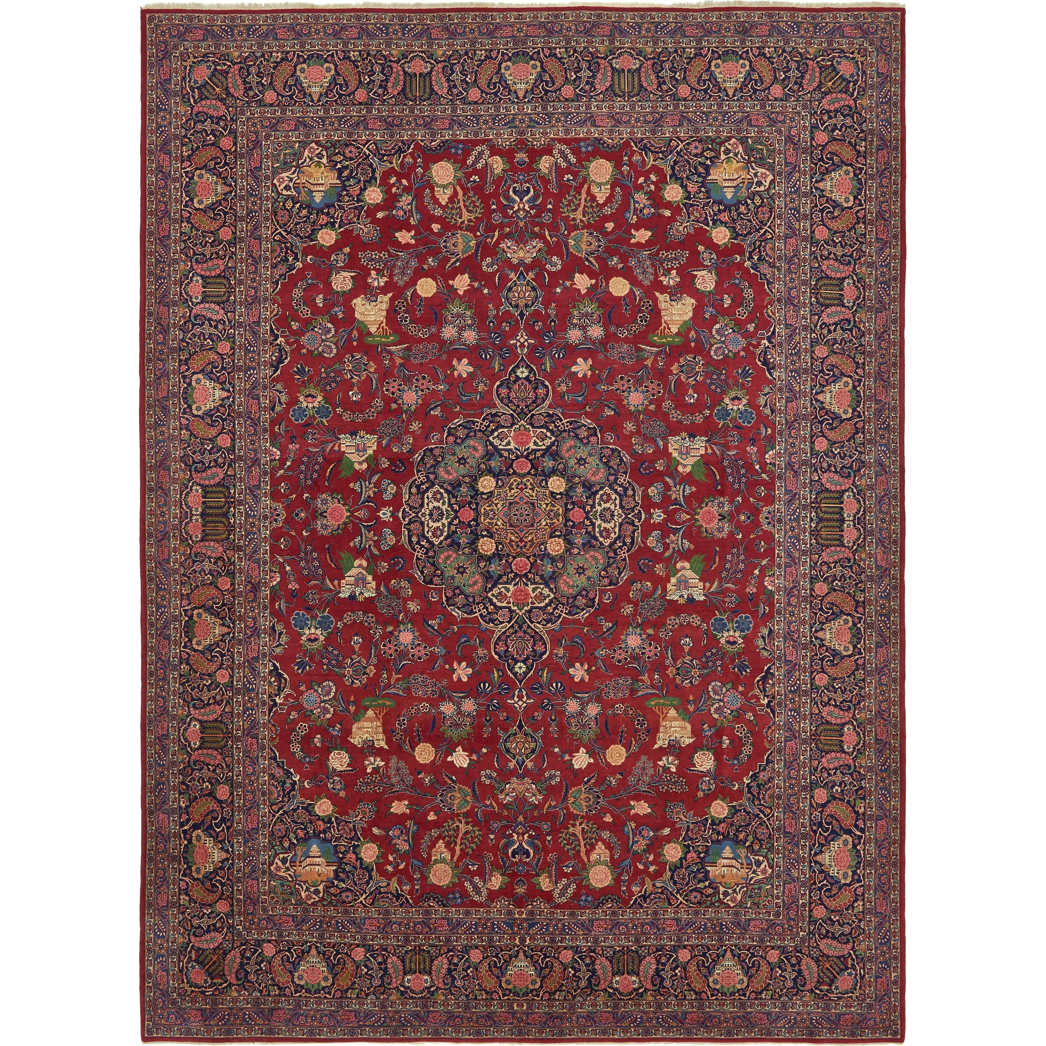Hand Knotted Kashan Antique Kork Wool Area Rug - 10 6 x 14 2 (Red - 10 6 x 14 2)