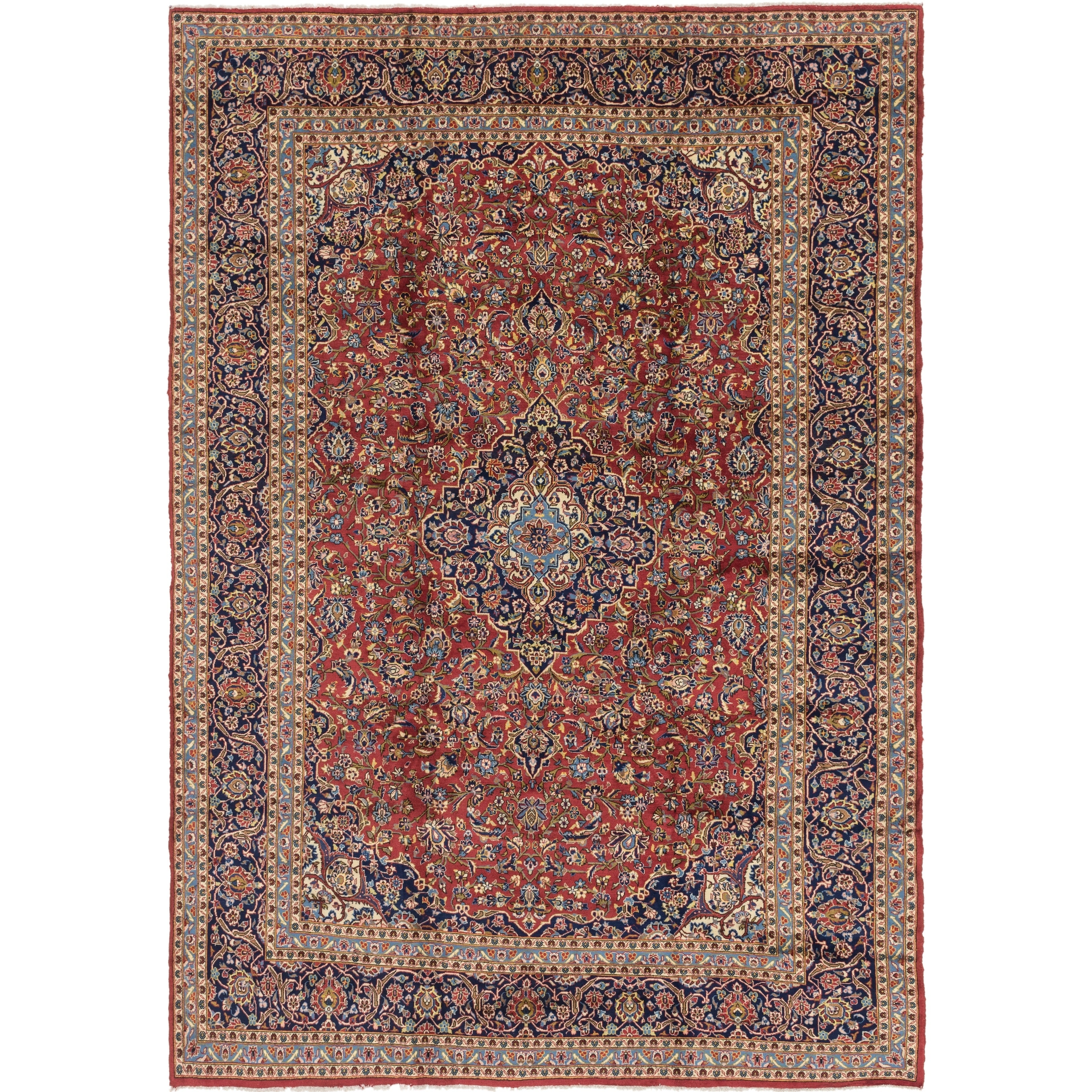 Hand Knotted Kashan Semi Antique Wool Area Rug - 9 10 x 14 (Red - 9 10 x 14)