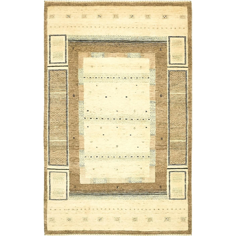 Hand Knotted Kashkuli Gabbeh Wool Area Rug - 3 10 x 6 2 (Cream - 3 10 x 6 2)