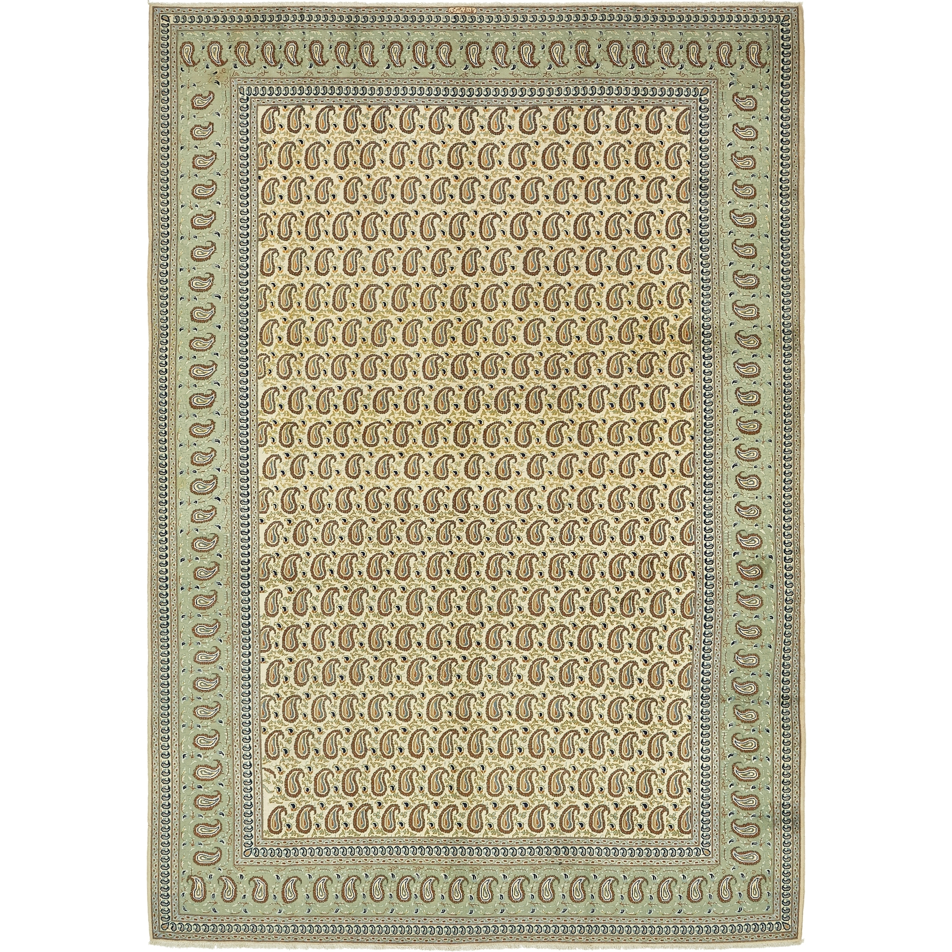 Hand Knotted Kashan Semi Antique Wool Area Rug - 8 5 x 12 4 (Ivory - 8 5 x 12 4)