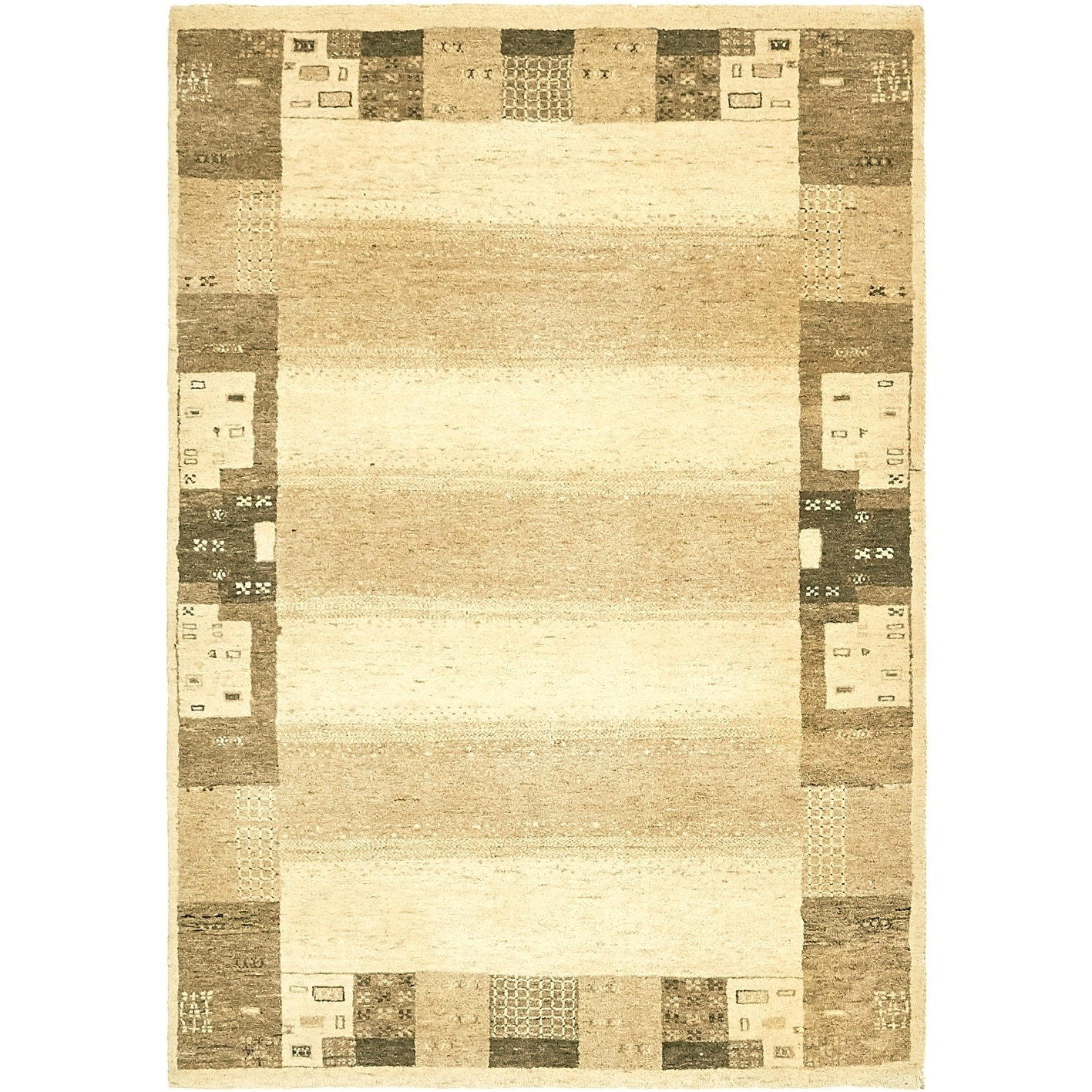 Hand Knotted Kashkuli Gabbeh Wool Area Rug - 4 x 5 8 (Cream - 4 x 5 8)
