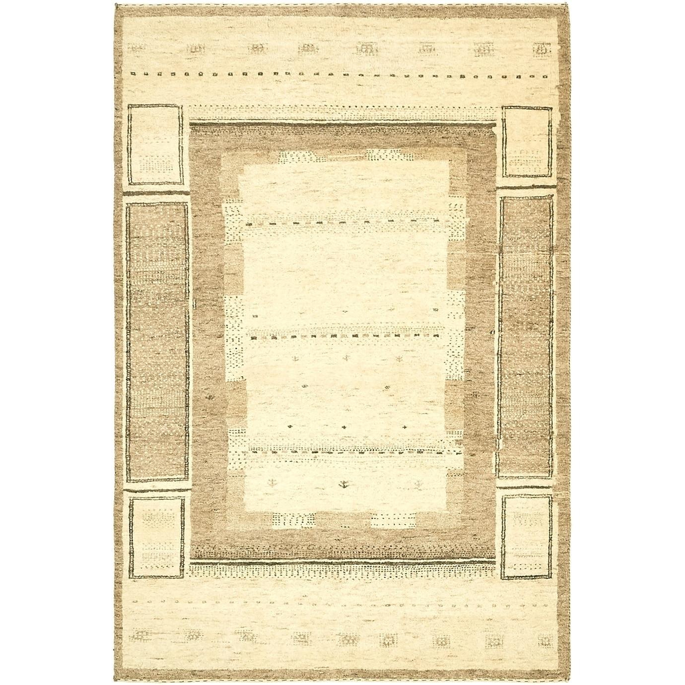 Hand Knotted Kashkuli Gabbeh Wool Area Rug - 3 10 x 5 9 (Cream - 3 10 x 5 9)