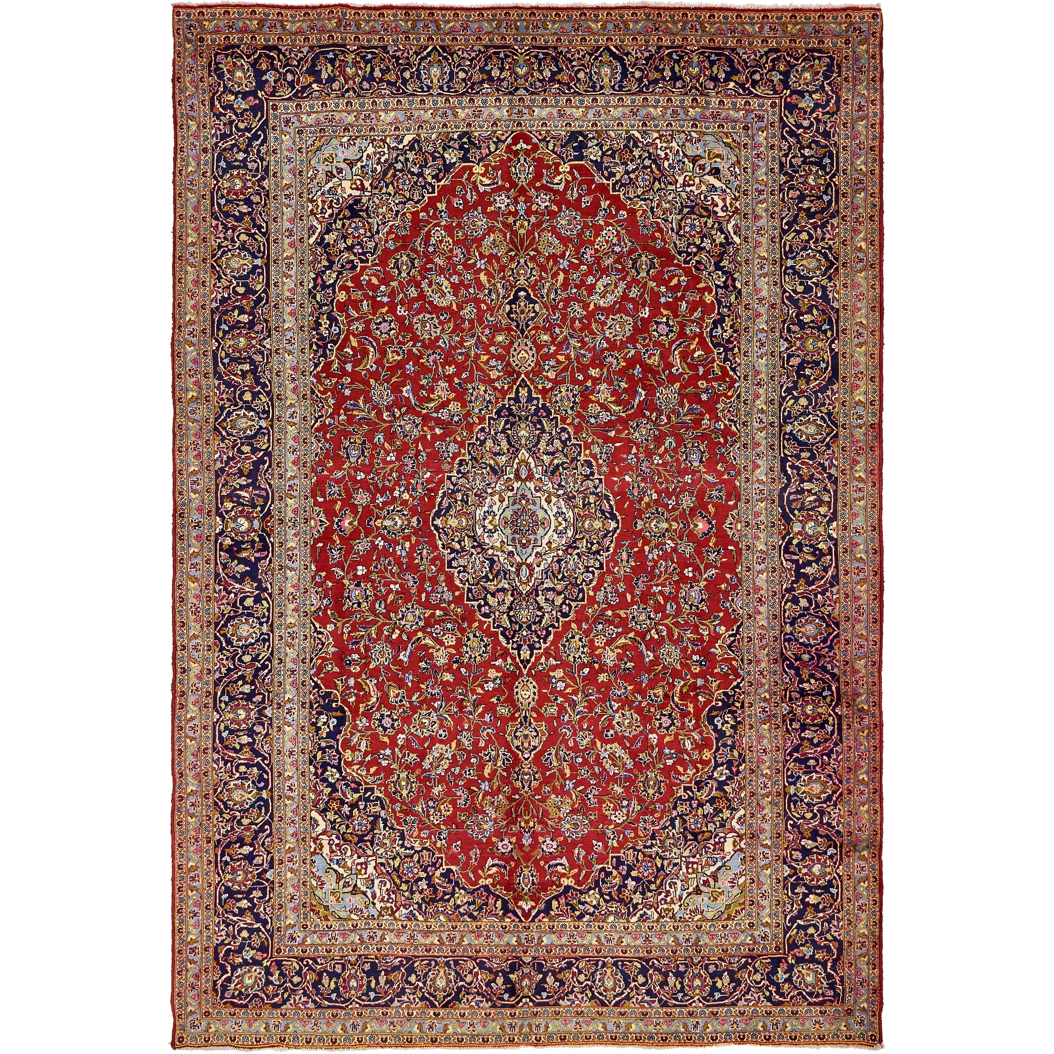 Hand Knotted Kashan Semi Antique Wool Area Rug - 9 7 x 13 6 (Red - 9 7 x 13 6)