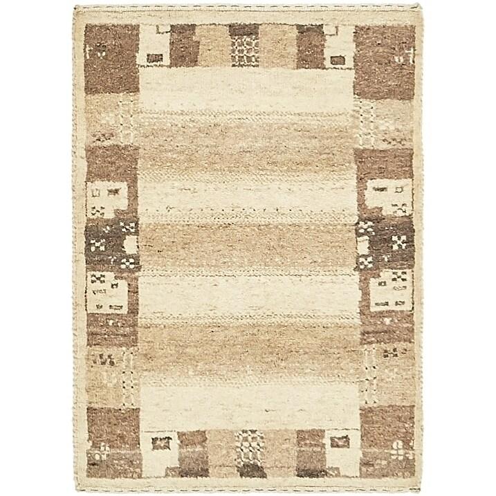 Hand Knotted Kashkuli Gabbeh Wool Area Rug - 2 x 2 9 (Cream - 2 x 2 9)