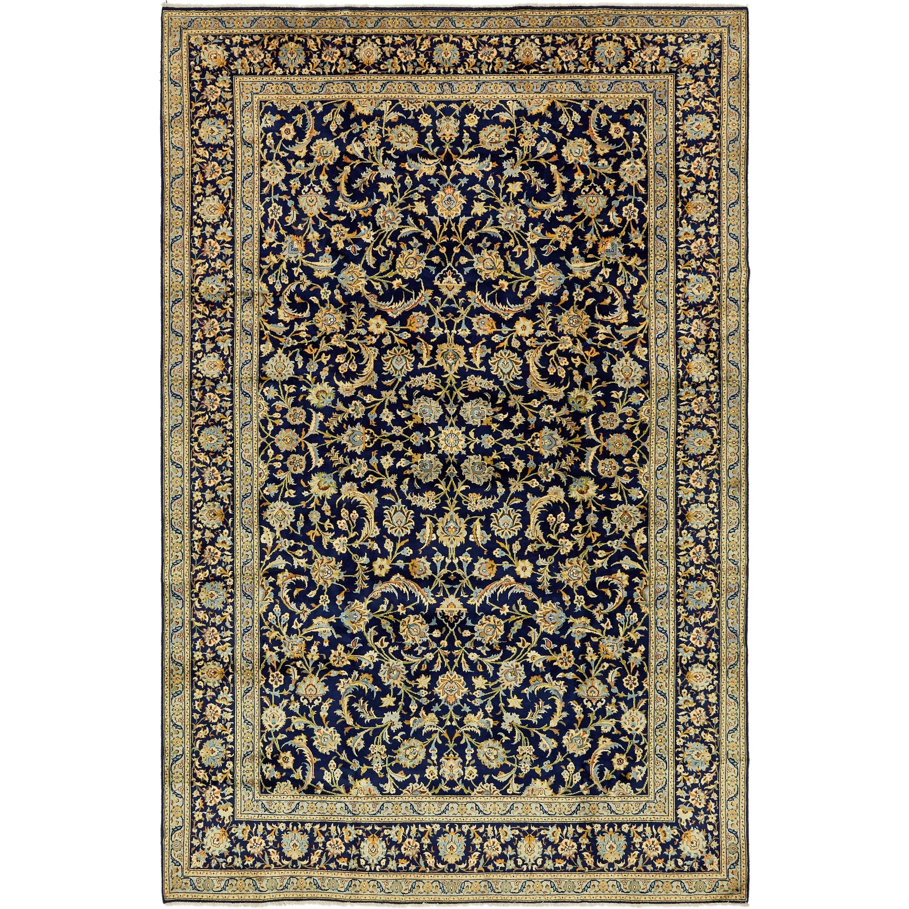 Hand Knotted Kashan Semi Antique Wool Area Rug - 8 6 x 13 5 (Navy blue - 8 6 x 13 5)