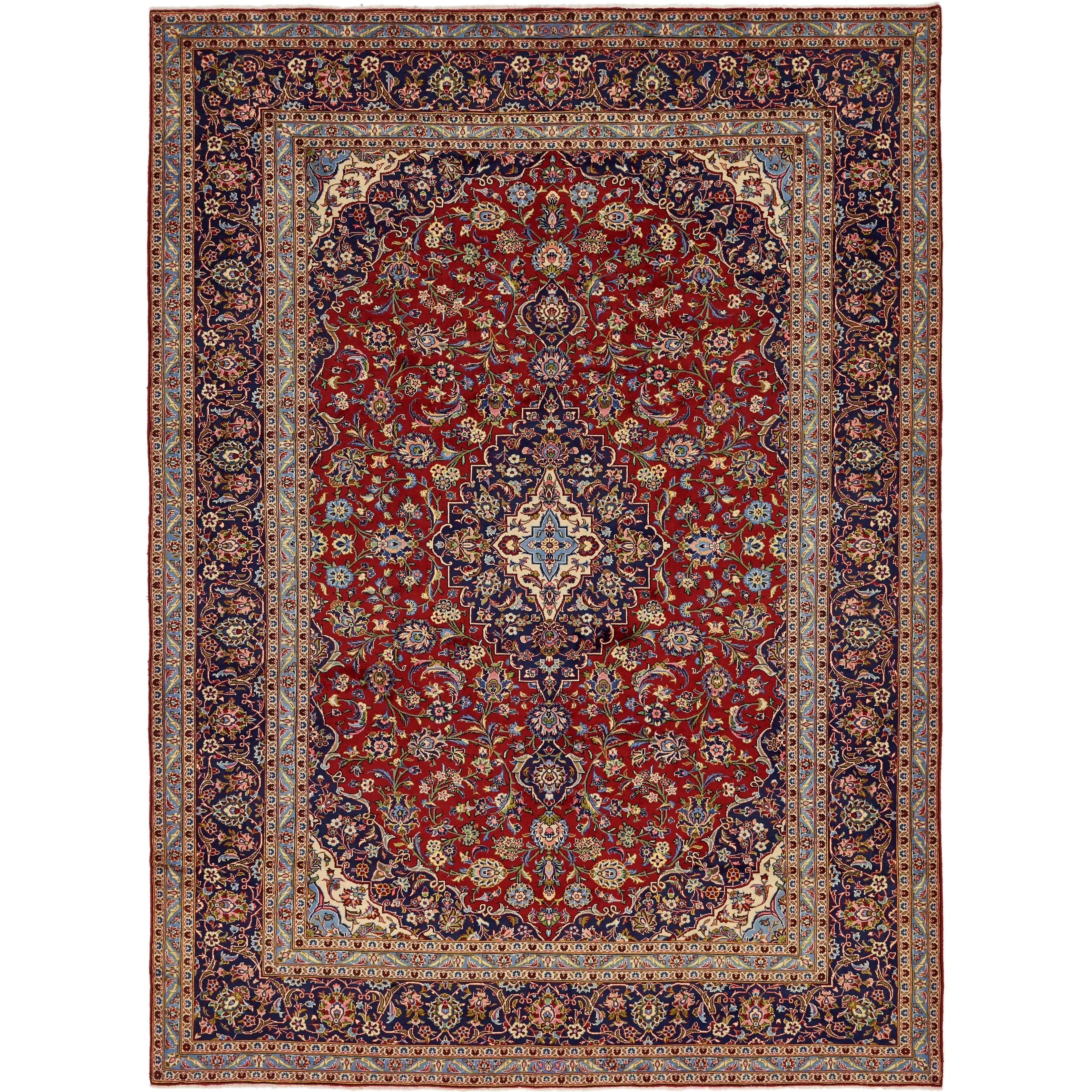 Hand Knotted Kashan Semi Antique Wool Area Rug - 9 7 x 13 2 (Red - 9 7 x 13 2)