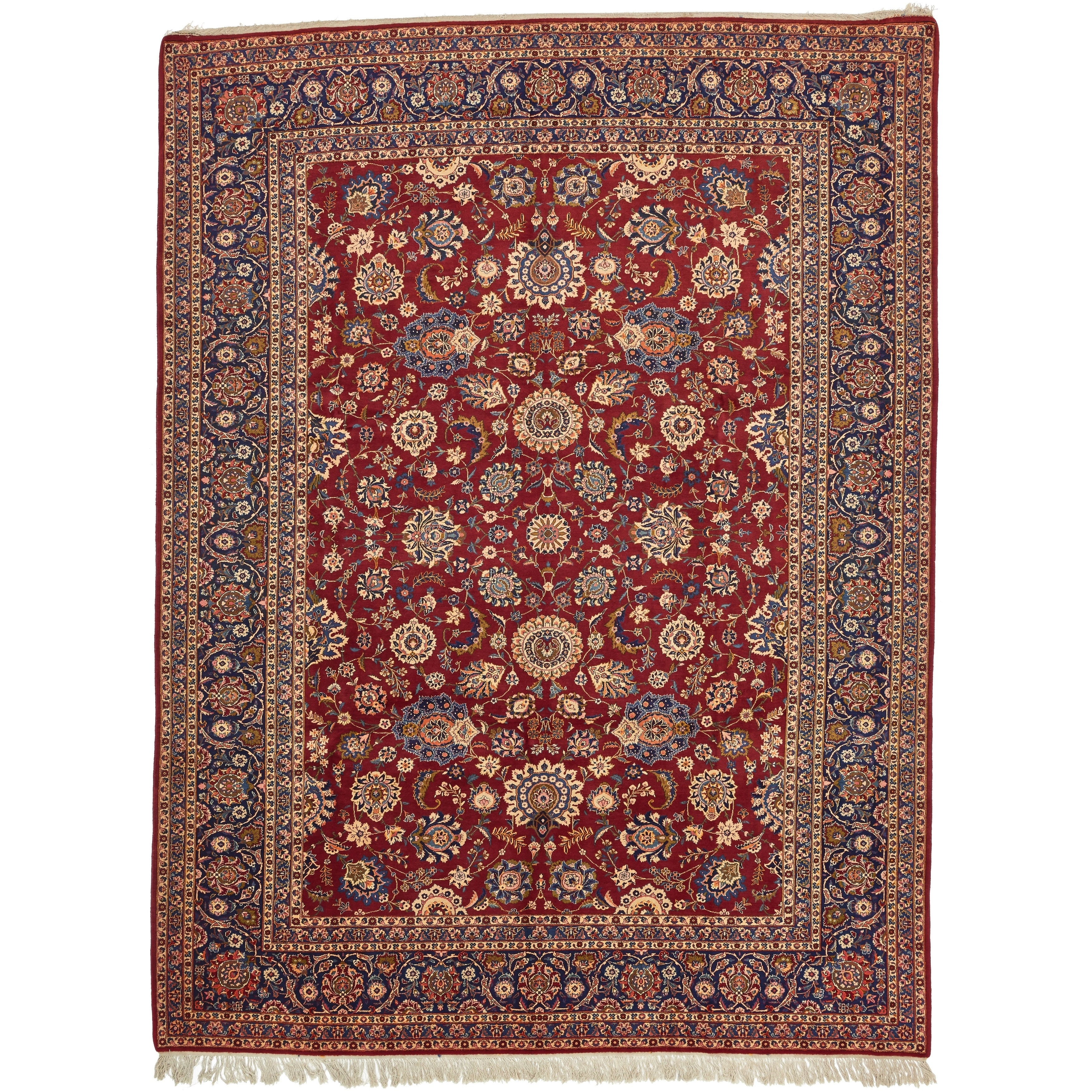Hand Knotted Kashan Antique Wool Area Rug - 10 6 x 14 (Red - 10 6 x 14)