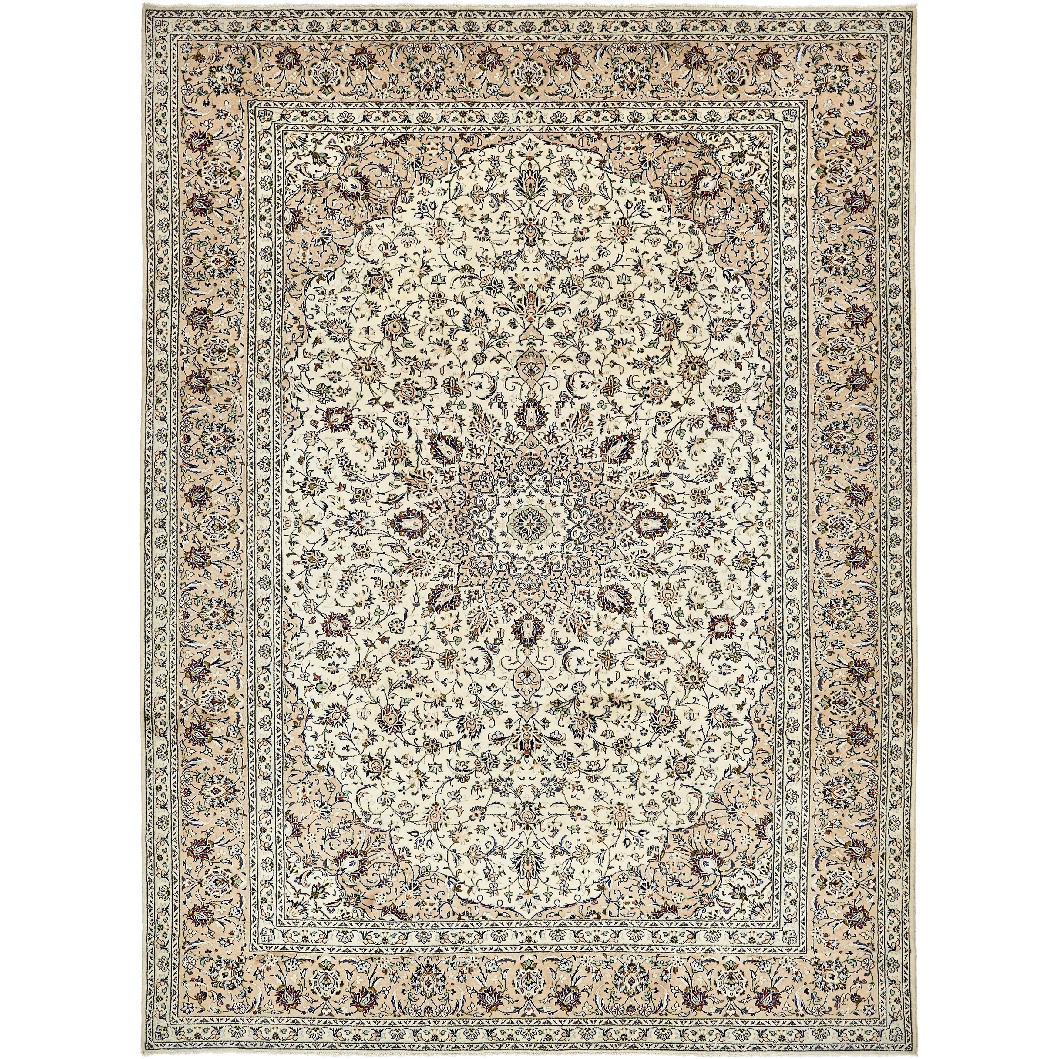 Hand Knotted Kashan Semi Antique Wool Area Rug - 9 8 x 13 4 (Cream - 9 8 x 13 4)